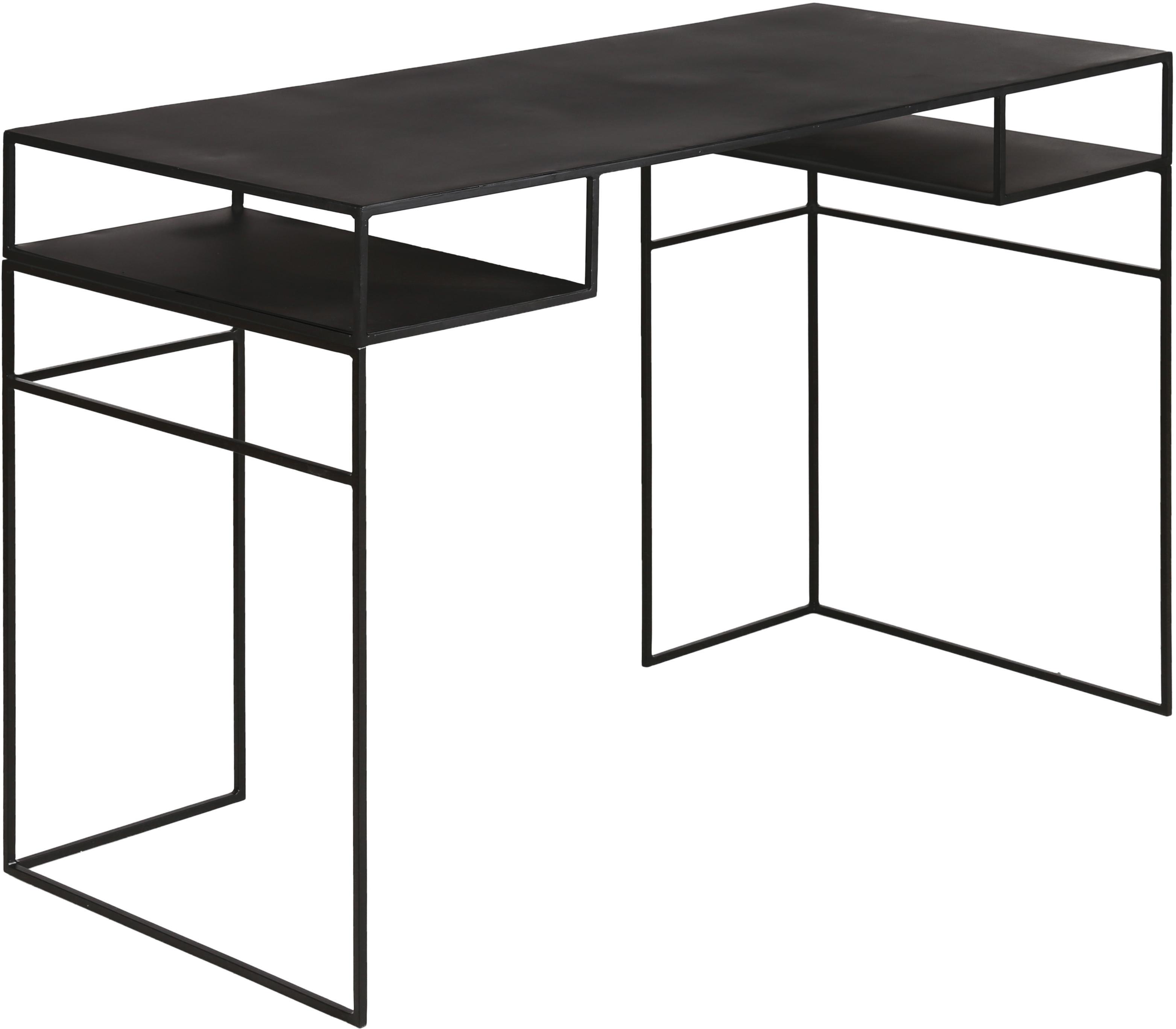 Scrivania in metallo nero Expo, Metallo rivestito, Nero, Larg. 120 x Prof. 55 cm