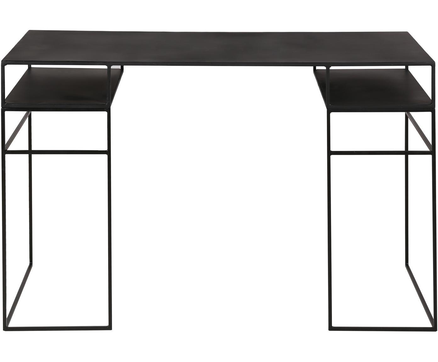 Metalen bureau Expo in zwart, Gecoat metaal, Zwart, B 120 x D 55 cm