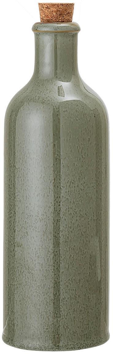Handgefertigte Essig- und Öl-Karaffe Pixie, luftdicht, Flasche: Steingut, Verschluss: Korken, Grüntöne, Ø 8 x H 25 cm