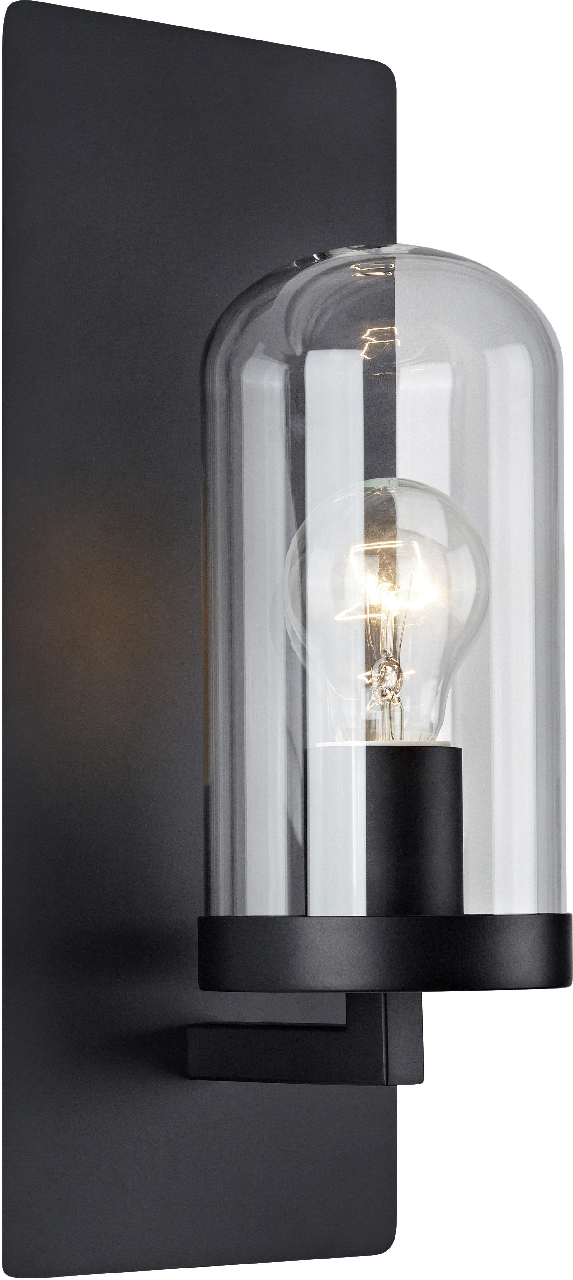 Applique con spina James, Paralume: vetro, Nero, Larg. 15 x Alt. 35 cm