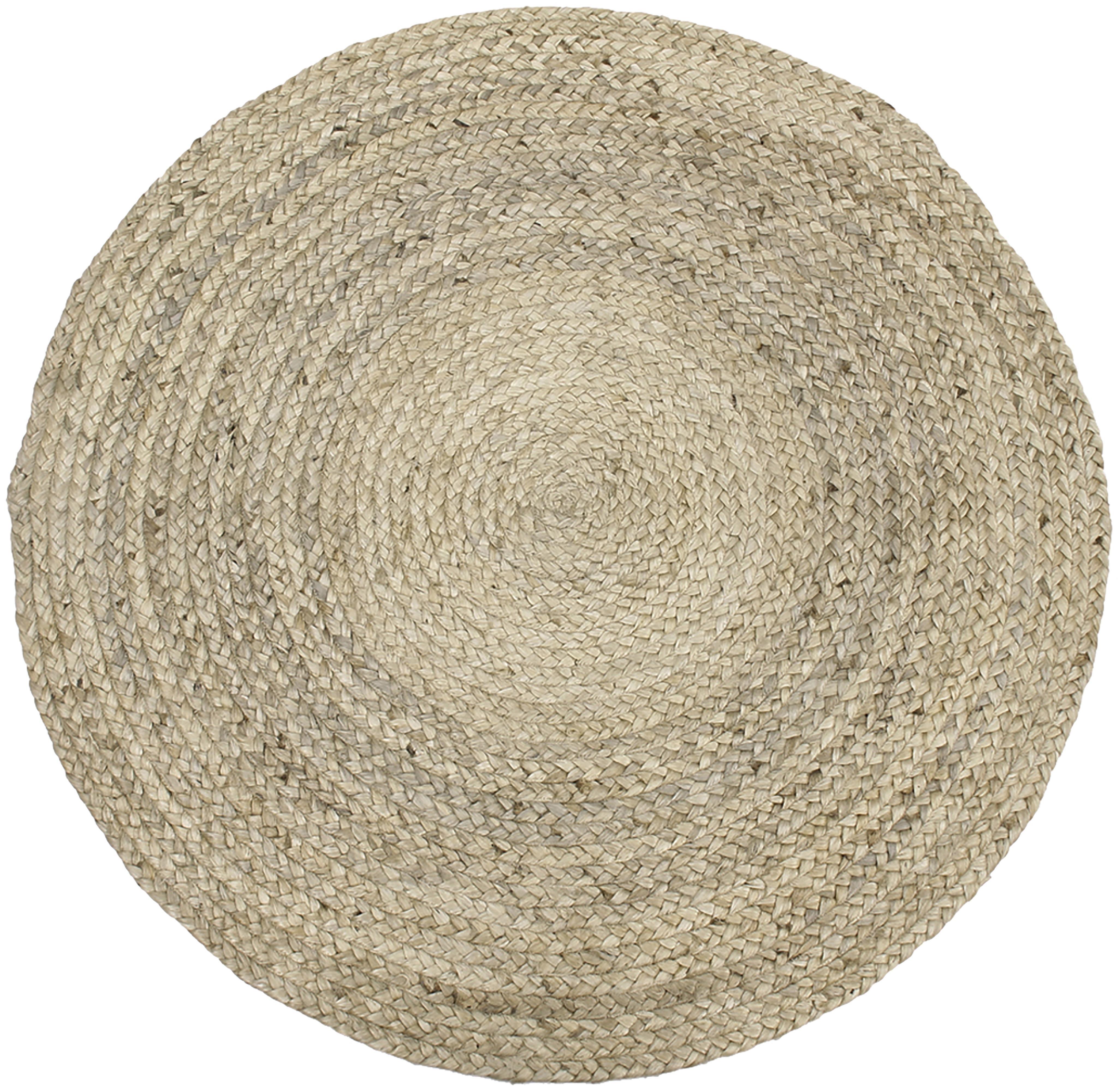 Runder Jute-Teppich Sharmila, handgefertigt, Beige, Ø 100 cm (Größe XS)