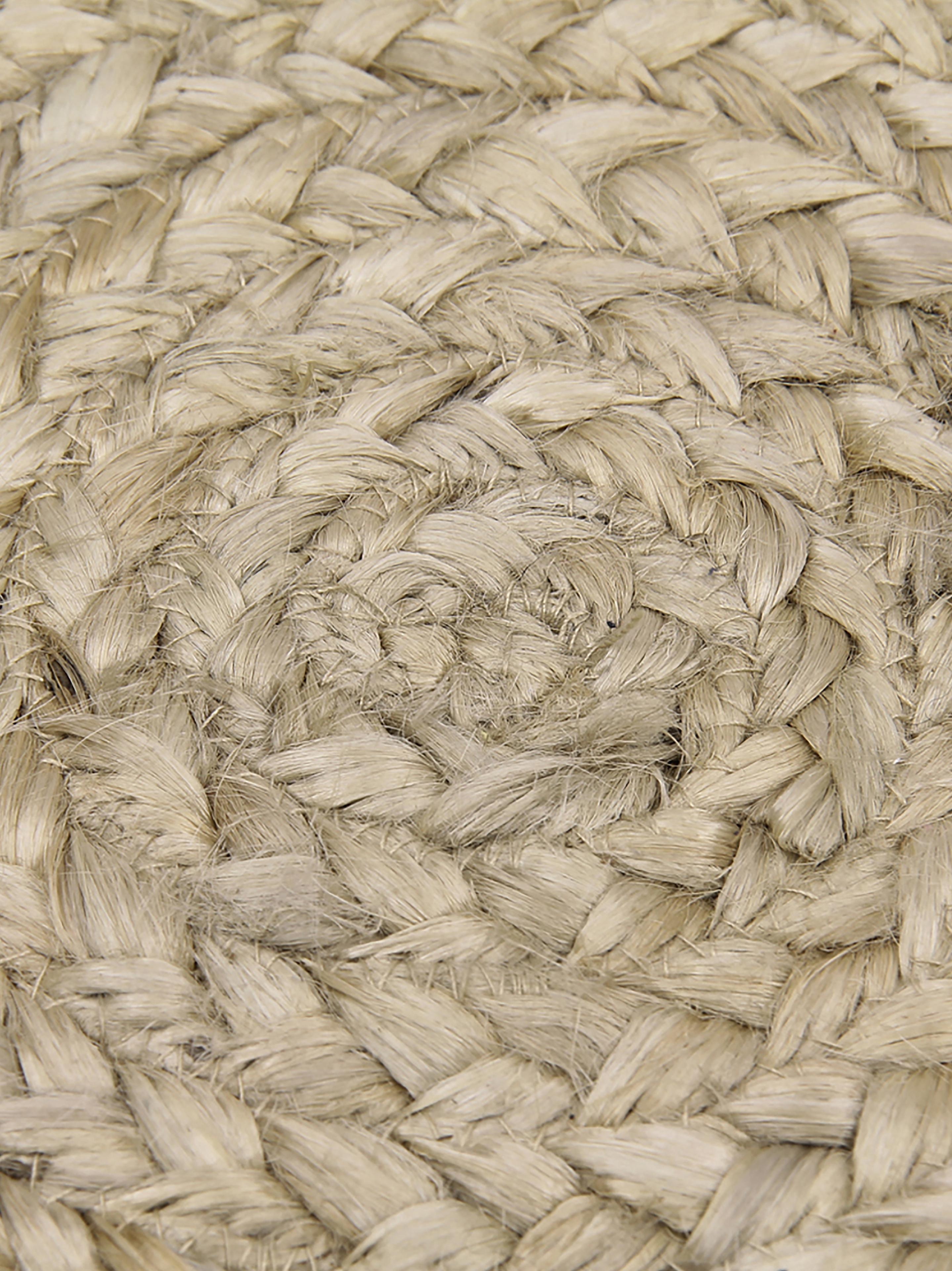 Alfombra redonda artesanal de yute Sharmila, Yute, Beige, Ø 200 cm (Tamaño L)