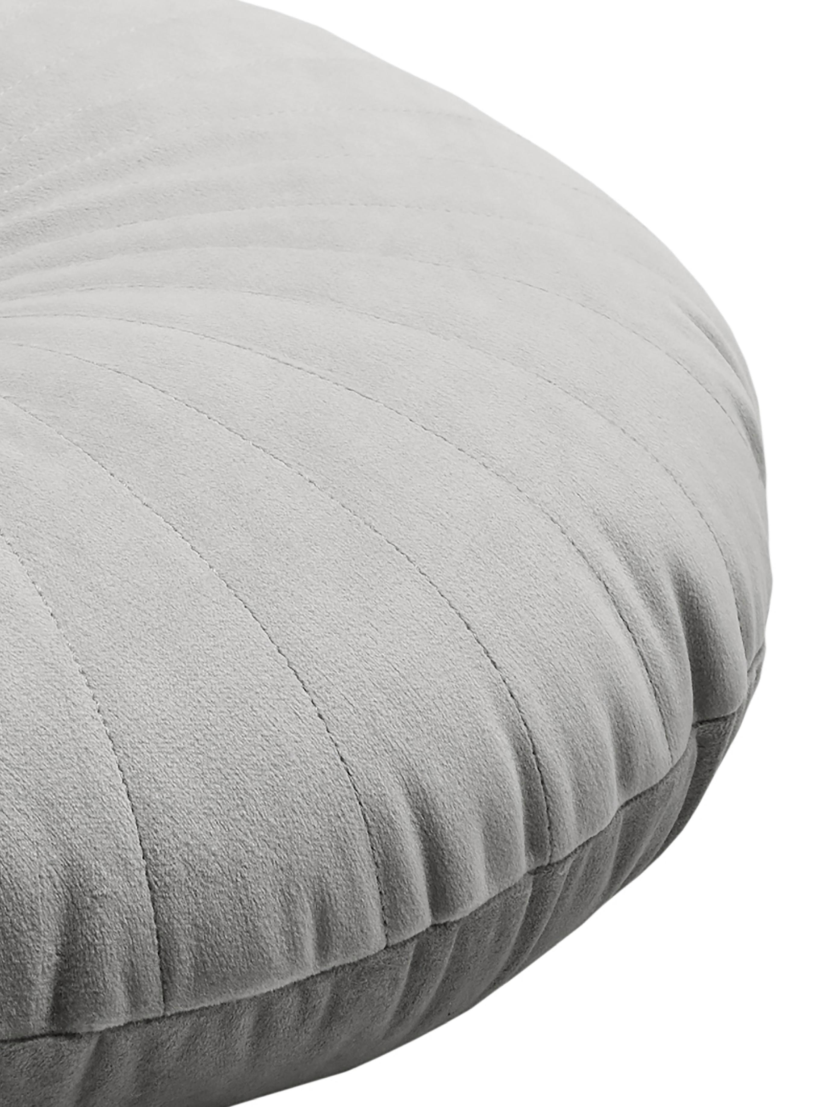 Lesklý kulatý sametový polštář Monet, svýplní, Odstíny stříbrné