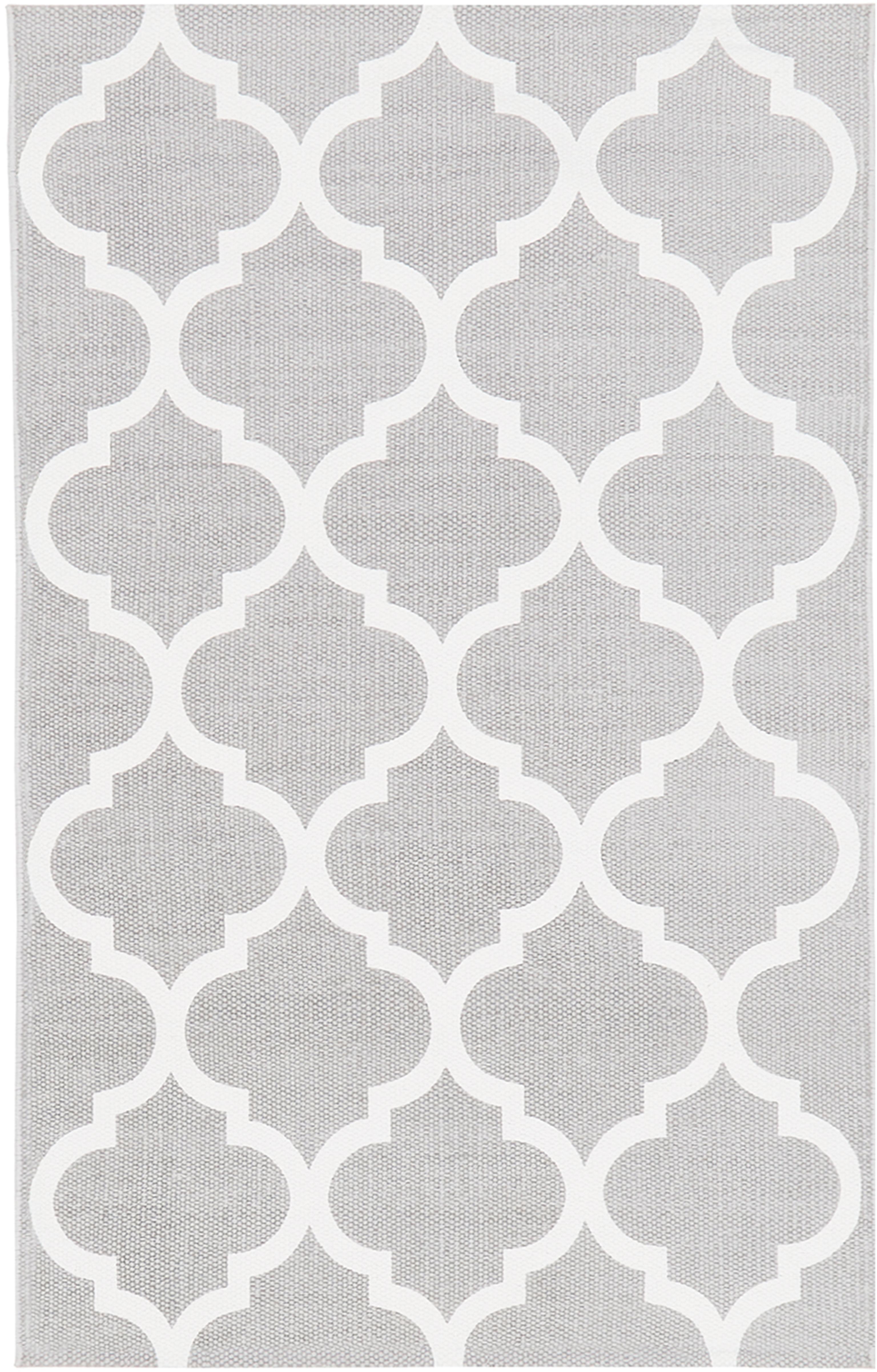 Vlak geweven katoenen vloerkleed Amira in grijs/wit, Katoen, Lichtgrijs, crèmewit, B 50 x L 80 cm (maat XXS)