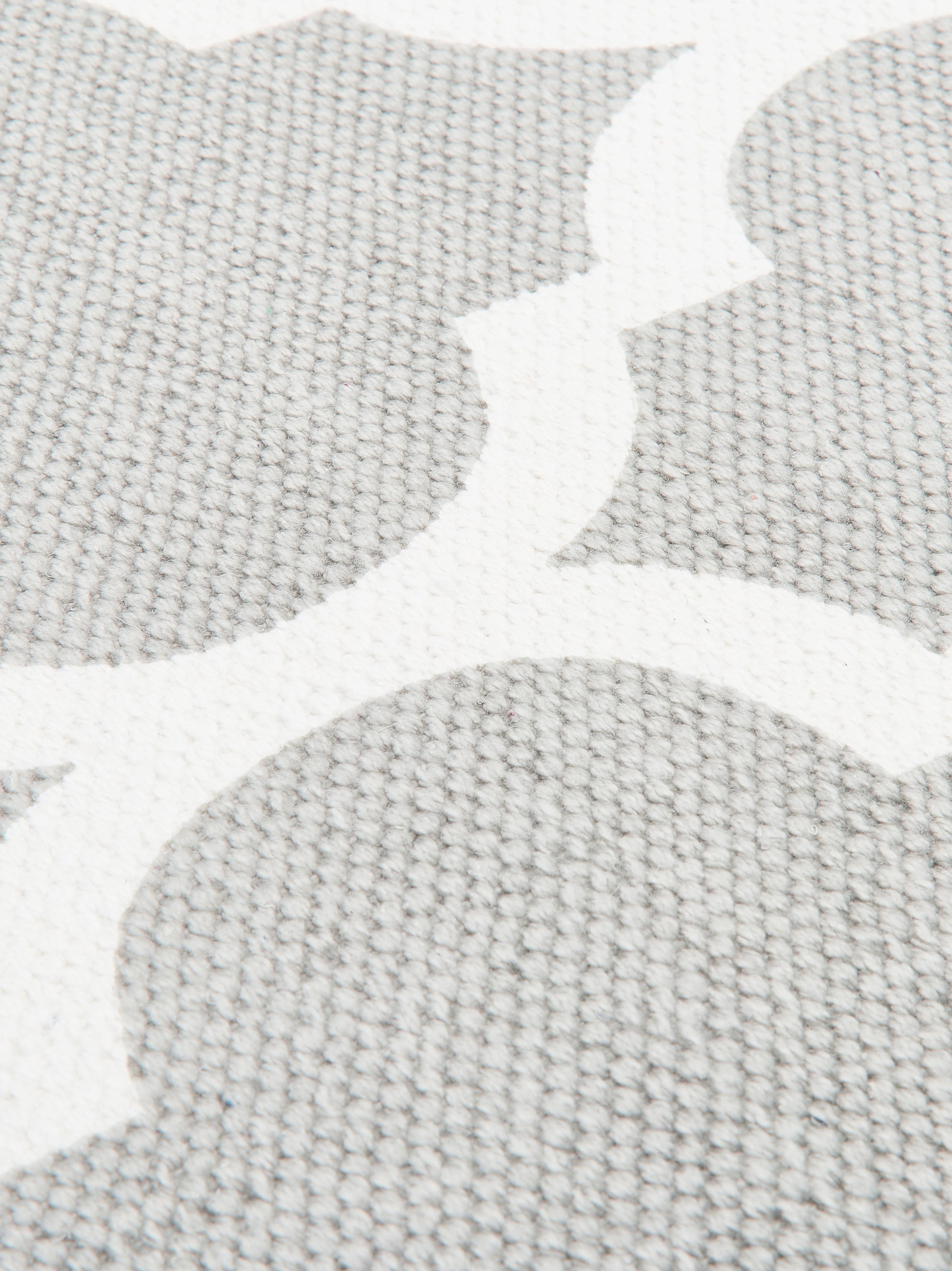 Flachgewebter Baumwollteppich Amira in Grau/Weiss, 100% Baumwolle, Hellgrau, Cremeweiss, B 70 x L 140 cm (Grösse XS)