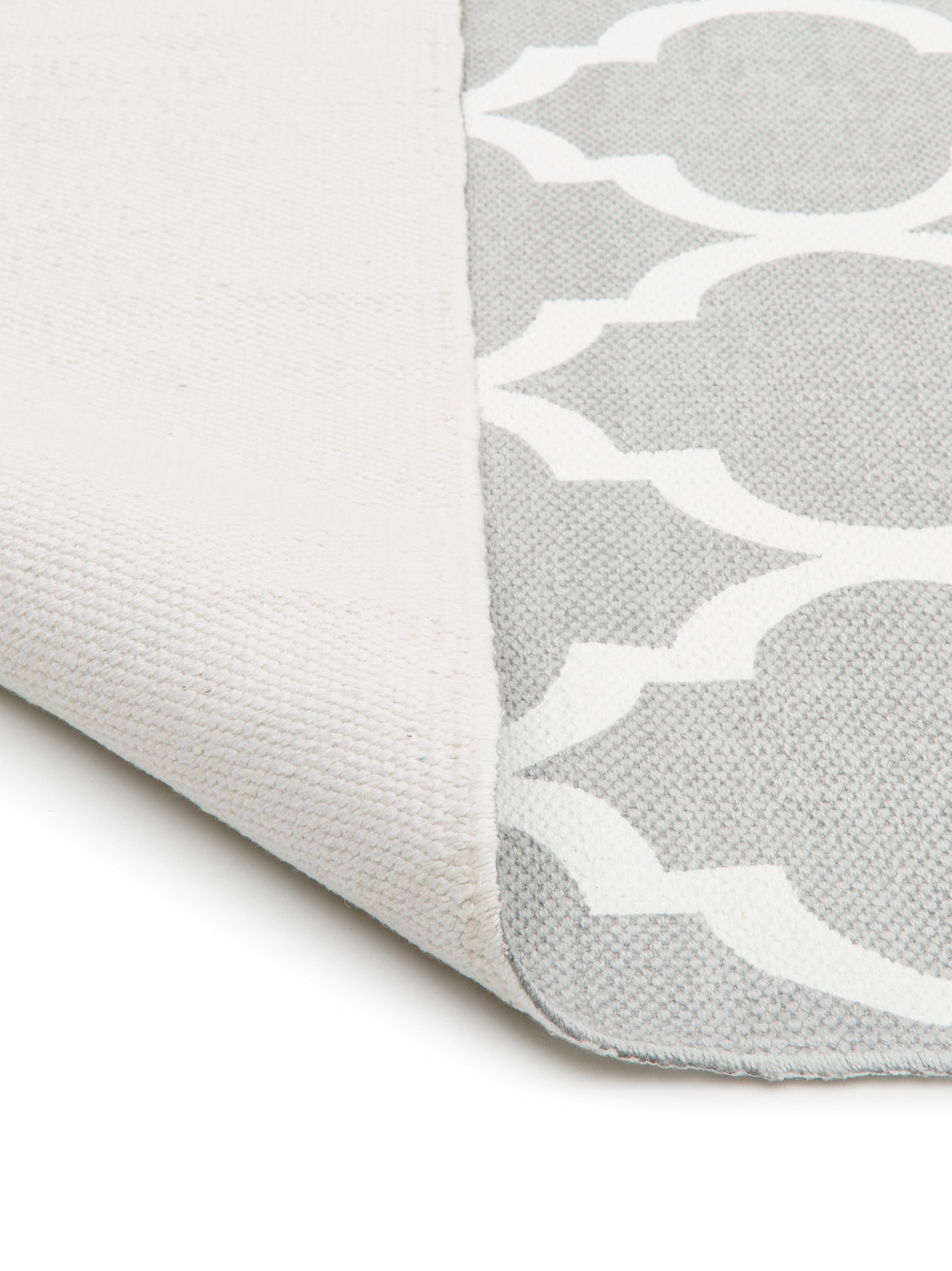 Tappeto in cotone tessuto a mano Amira, 100% cotone, Grigio chiaro, bianco crema, Larg. 70 x Lung. 140 cm (taglia XS)