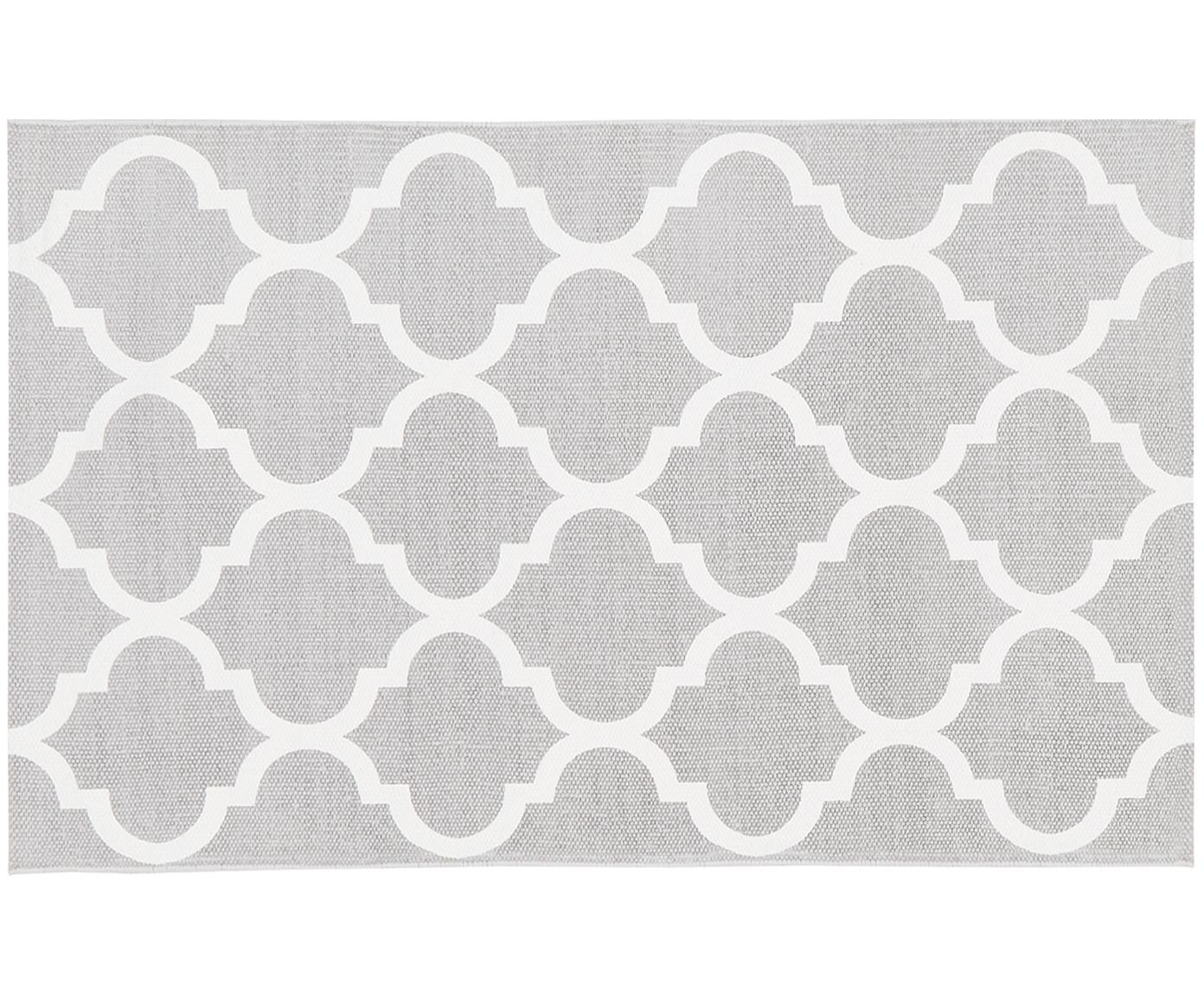 Tappeto in cotone tessuto a mano Amira, 100% cotone, Grigio chiaro, bianco crema, Larg. 50 x Lung. 80 cm (taglia XXS)