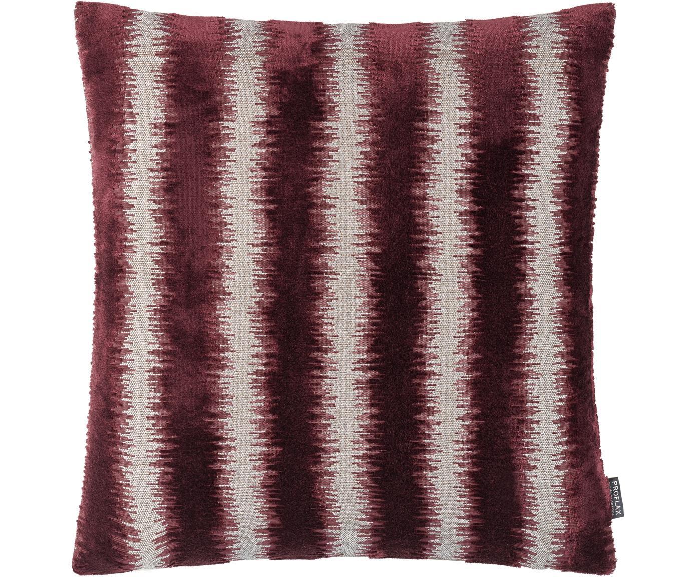 Poszewka na poduszkę Andres, 53% wiskoza, 41% poliester, 7% bawełna, Ciemny czerwony, beżowy, S 40 x D 40 cm