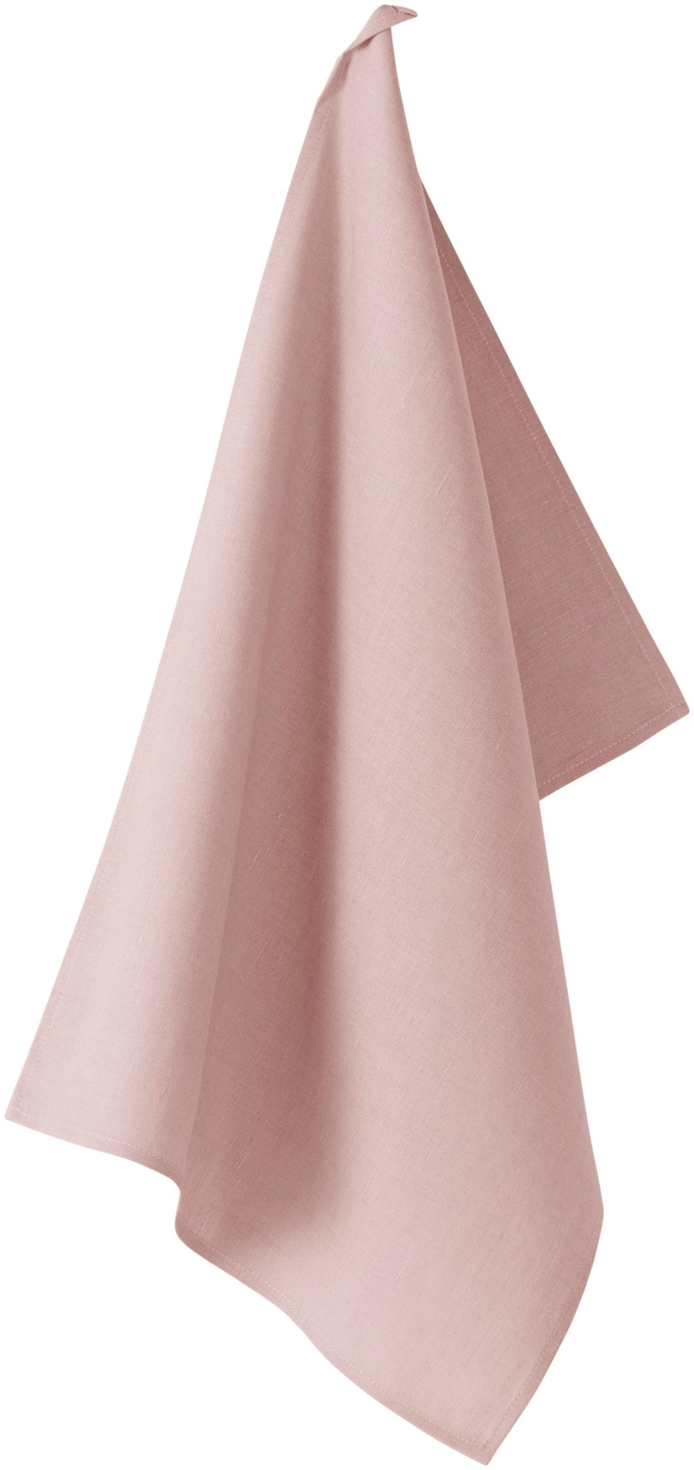 Linnen theedoek Hermia, 57% linnen, 43% katoen, Roze, 50 x 70 cm