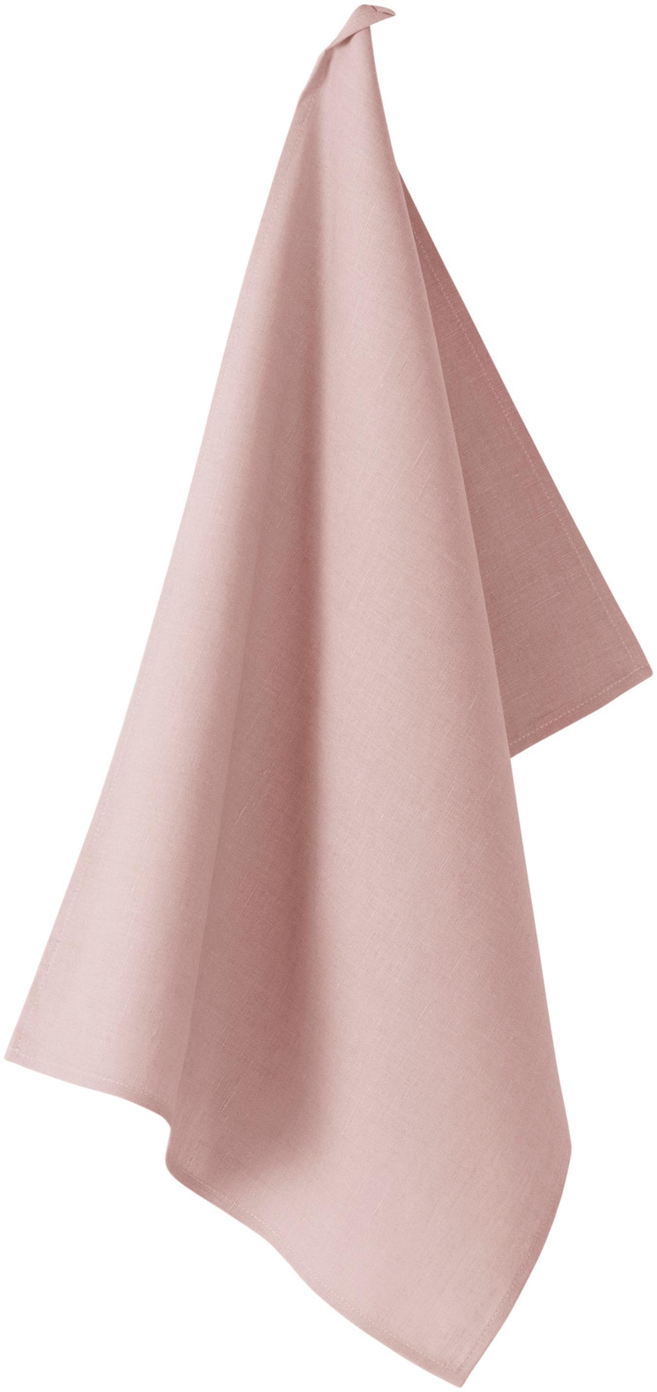 Ręcznik kuchenny z lnu Hermia, 57% len, 43% bawełna, Blady różowy, S 50 x D 70 cm