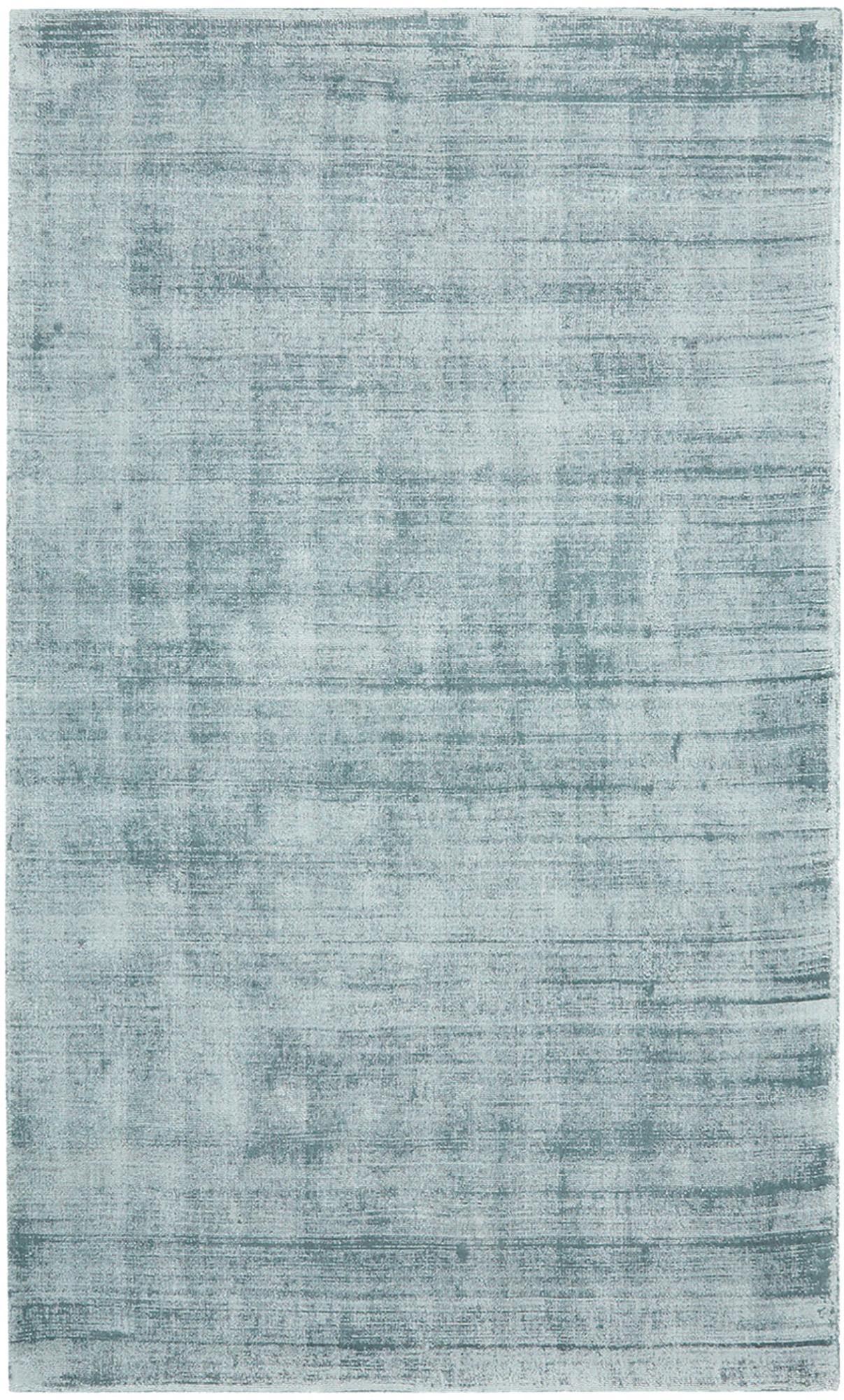 Tappeto in viscosa tessuto a mano Jane, Retro: 100% cotone, Blu ghiaccio, Larg. 90 x Lung. 150 cm (taglia XS)