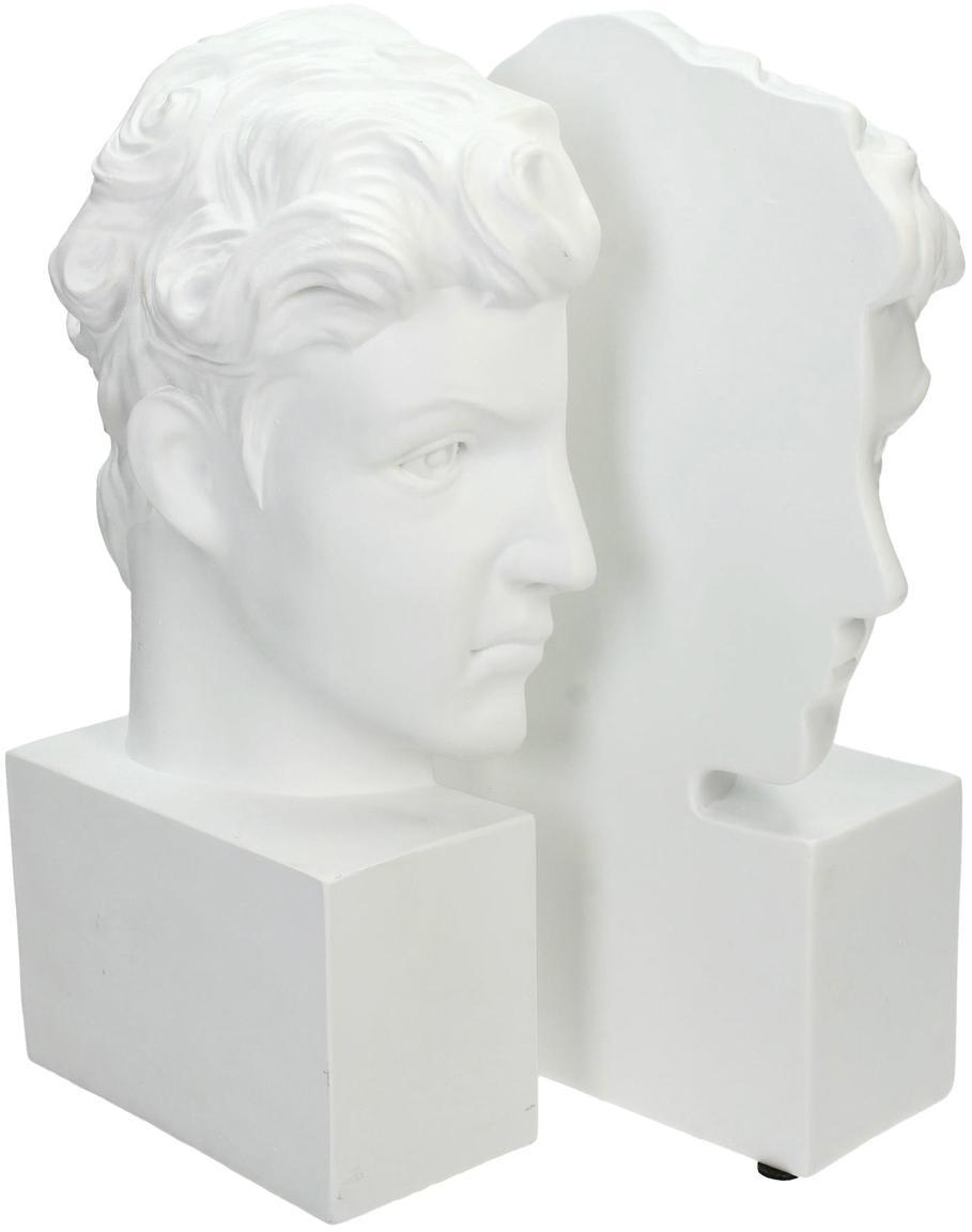 Fermalibri David 2 pz, Poliresina, Bianco, Larg. 15 x Alt. 26 cm