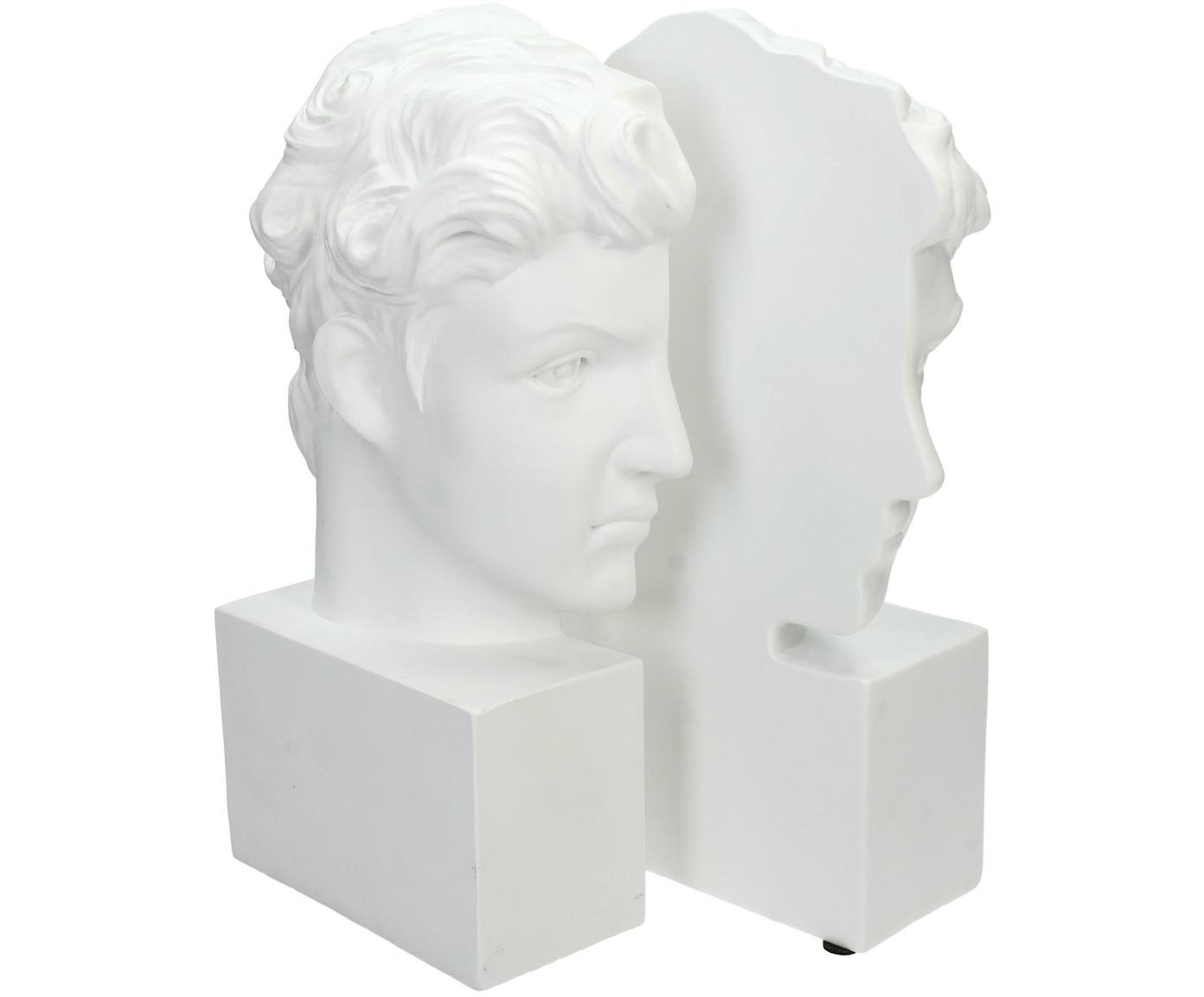 Podpórka do książek David, 2 szt., Poliresing, Biały, S 15 x W 26 cm