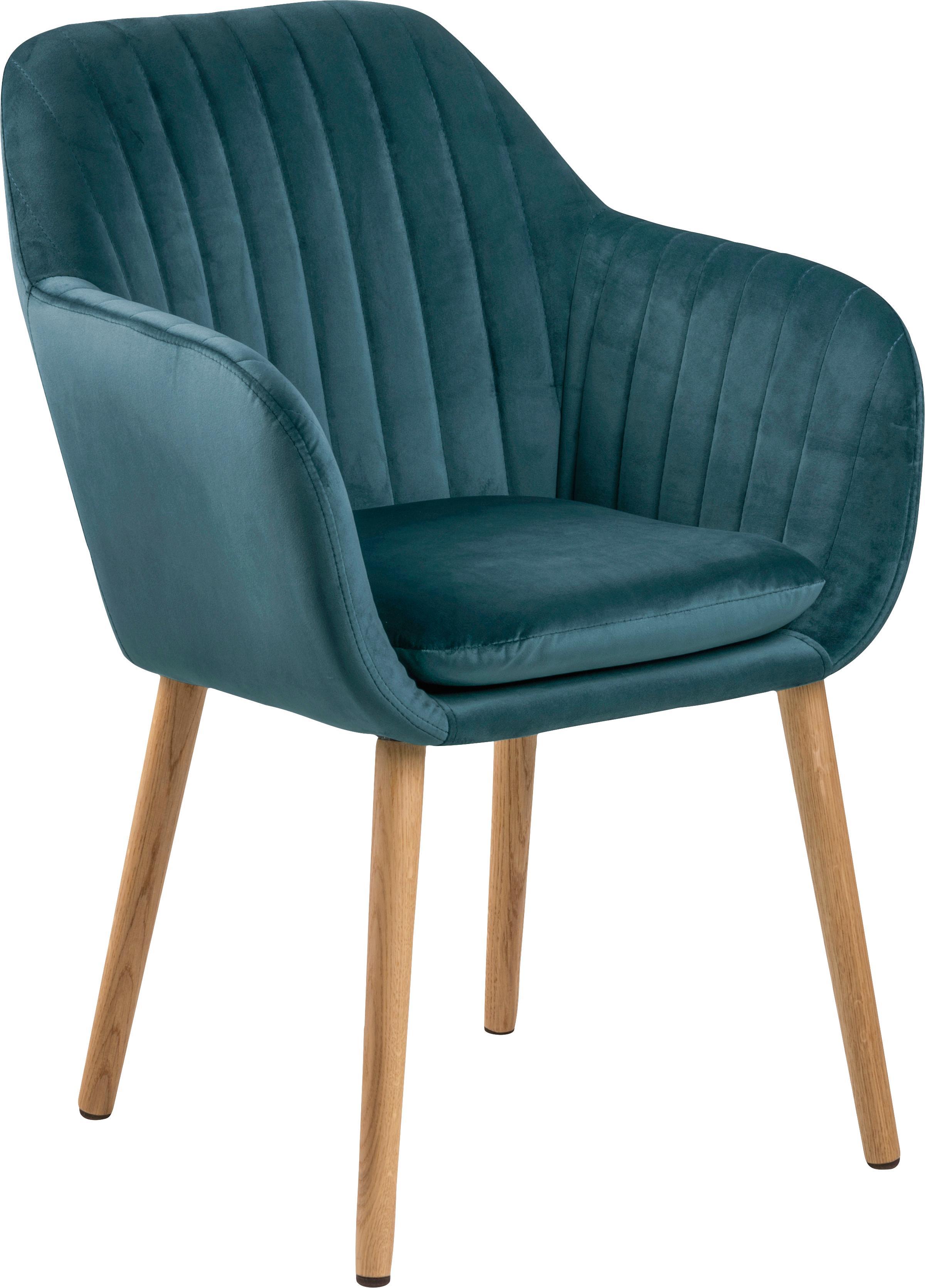 Krzesło z podłokietnikami z aksamitu Emilia, Tapicerka: poliester (aksamit), Nogi: drewno dębowe, olejowane , Tapicerka: butelkowy zielony Nogi: drewno dębowe, S 57 x G 59 cm