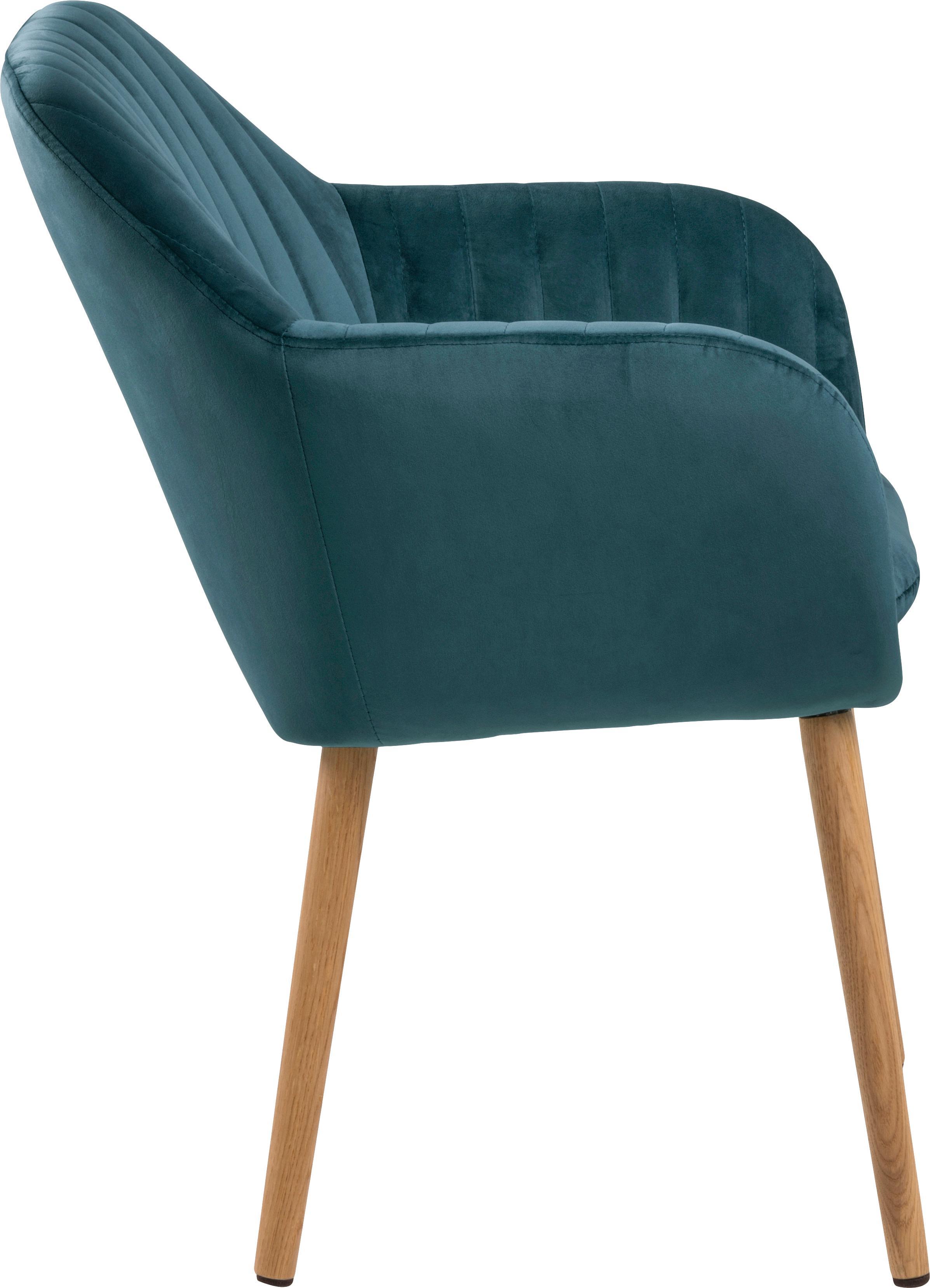 Silla de terciopelo Emilia, Tapizado: poliéster (terciopelo), Patas: madera de roble, aceitado, Terciopelo azul, patas roble, An 57 x F 59 cm