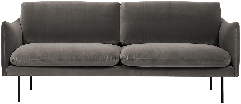 Fluwelen bank Moby (2-zits), Bekleding: fluweel (hoogwaardige pol, Frame: massief grenenhout, Poten: gepoedercoat metaal, Bruin, B 170 x D 95 cm