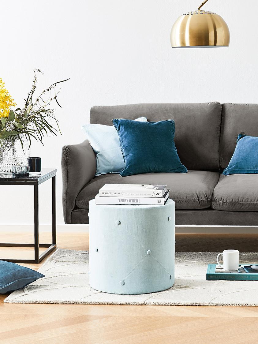 Samt-Sofa Moby (2-Sitzer), Bezug: Samt (Hochwertiger Polyes, Gestell: Massives Kiefernholz, Füße: Metall, pulverbeschichtet, Samt Braungrau, B 170 x T 95 cm