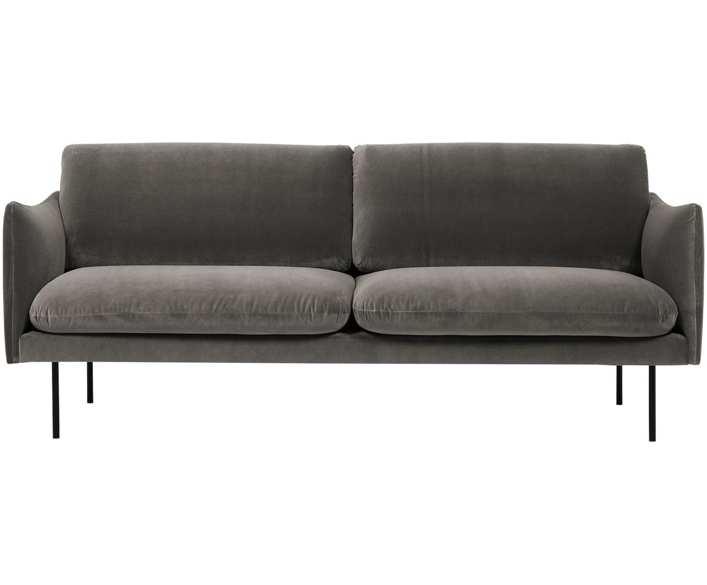 Sofa z aksamitu Moby (2-osobowa), Tapicerka: aksamit (wysokiej jakości, Stelaż: lite drewno sosnowe, Nogi: metal malowany proszkowo, Aksamitny szarobrązowy, S 170 x G 95 cm