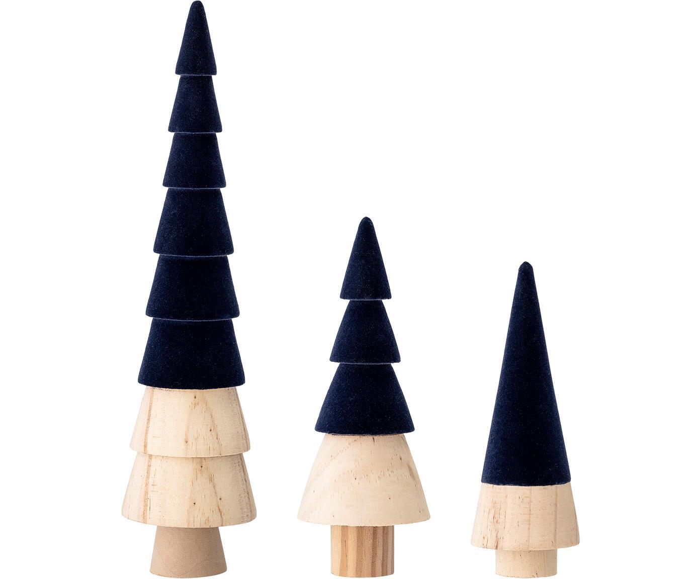 Komplet dekoracji z aksamitu Thace, 3 elem., Drewno naturalne, aksamit poliestrowy, Ciemny niebieski, drewno naturalne, Różne rozmiary