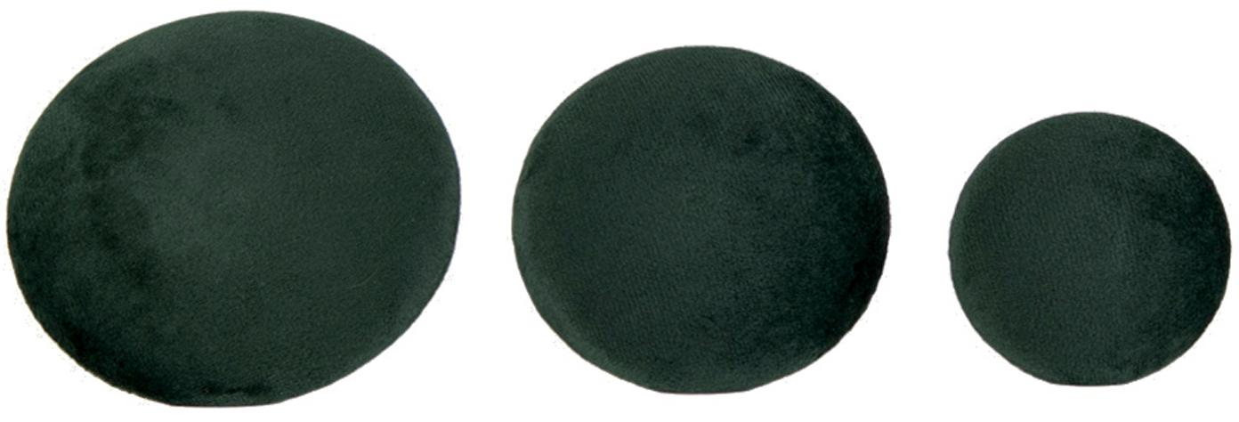 Komplet haków z aksamitu Giza, 3 elem., Aksamit, metal, Ciemny zielony, odcienie mosiądzu, Komplet z różnymi rozmiarami
