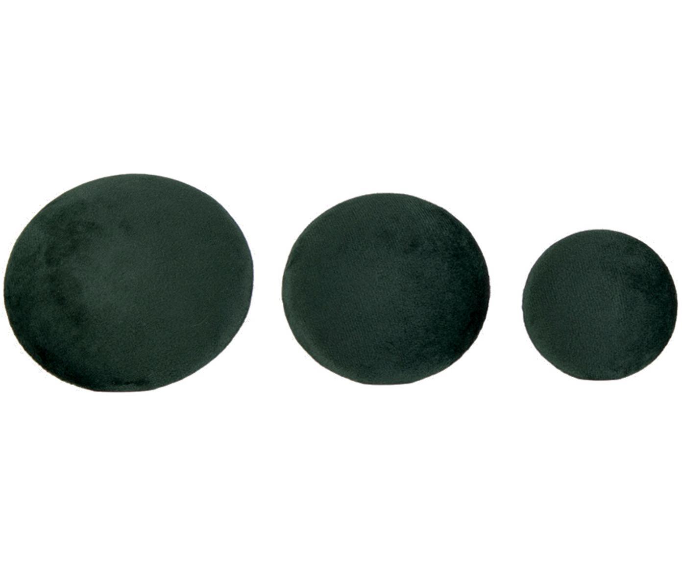 Set 3 ganci in velluto Giza, Velluto, metallo, Verde scuro ottonato, Diverse dimensioni