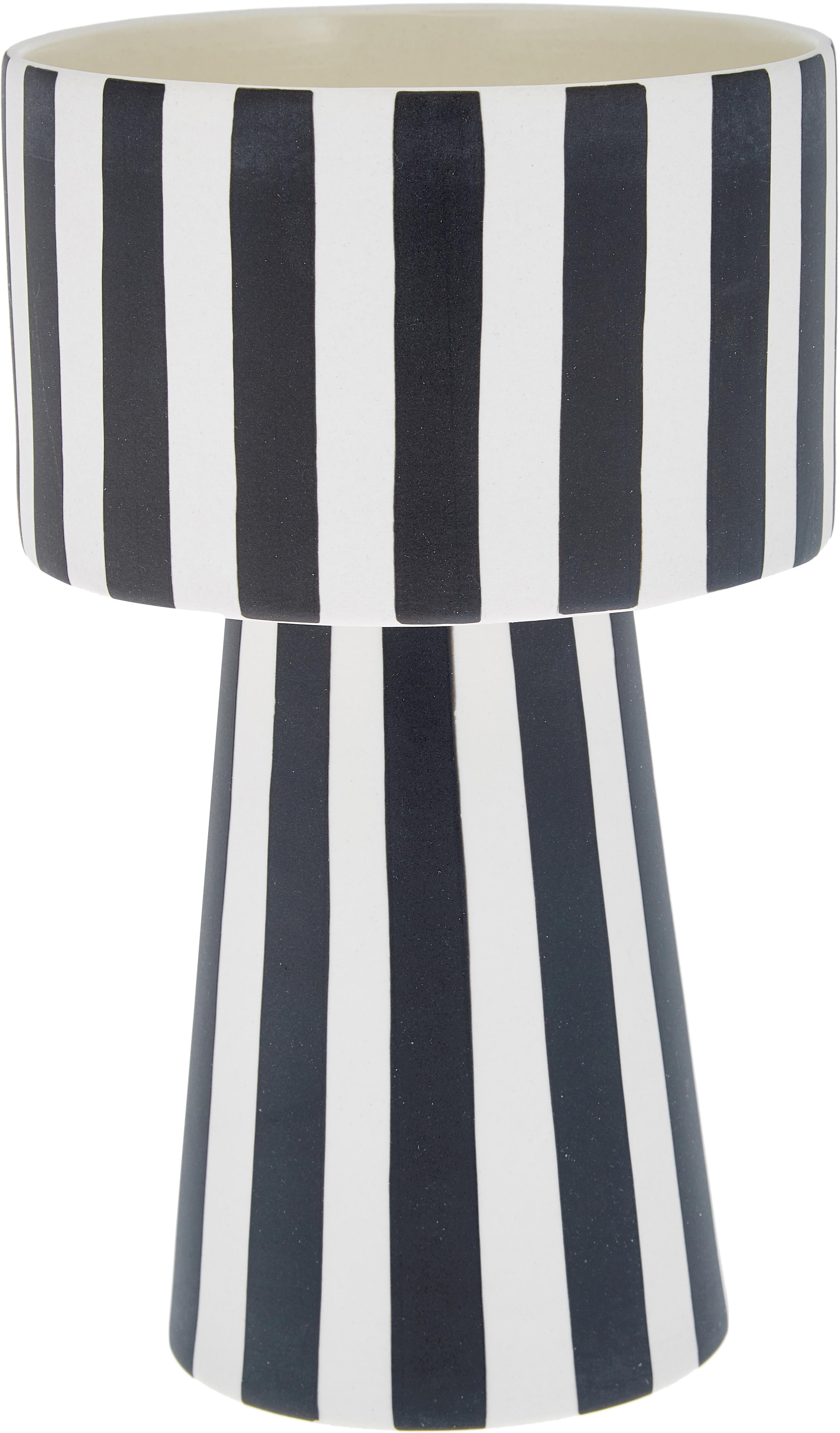 Handgefertigter Übertopf Toppu, Keramik, Weiß, Schwarz, Ø 15 x H 24 cm