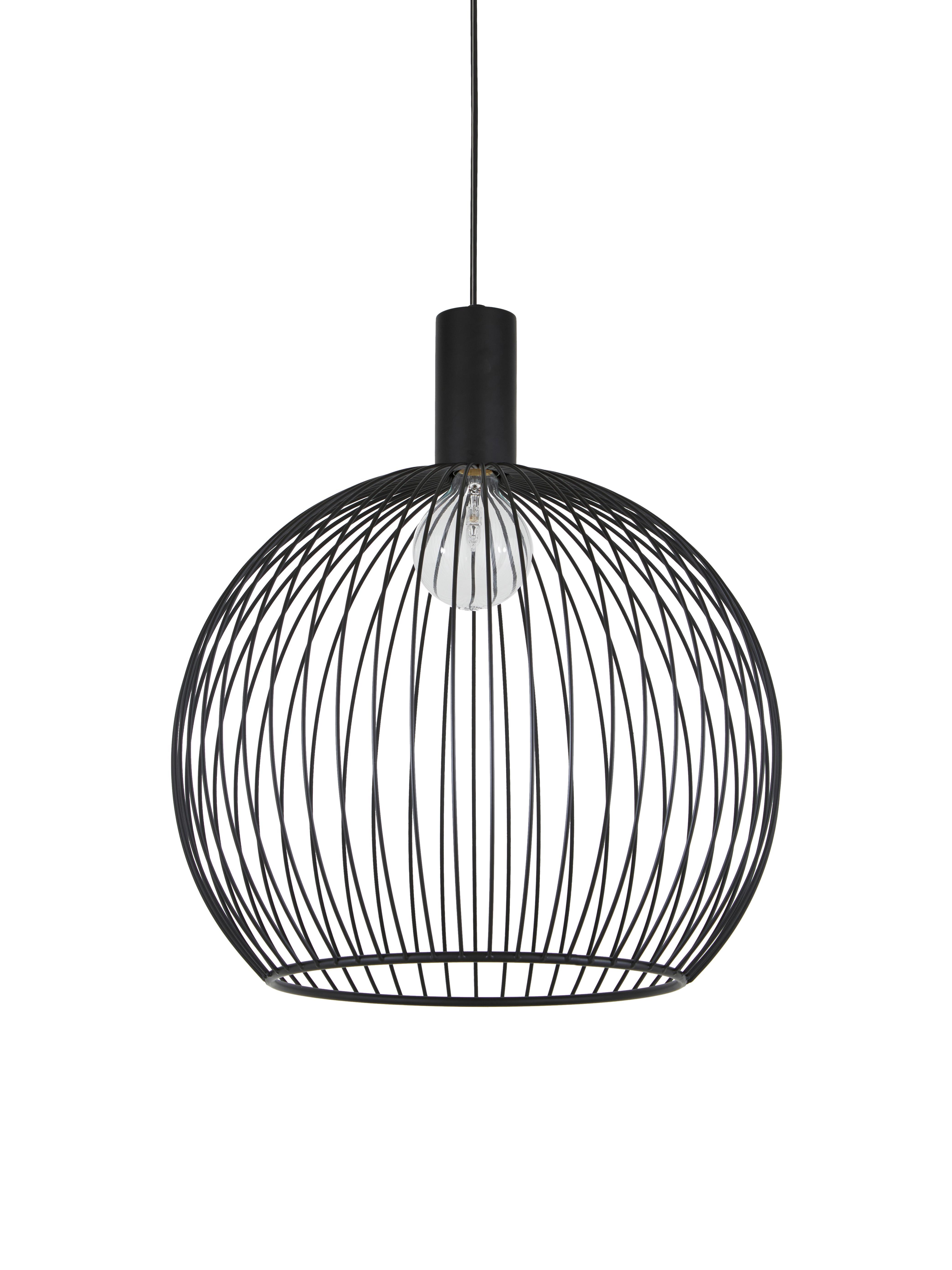 Design hanglamp Aver, Lampenkap: gelakt staal, Baldakijn: kunststof, Zwart, Ø 50 x H 55 cm