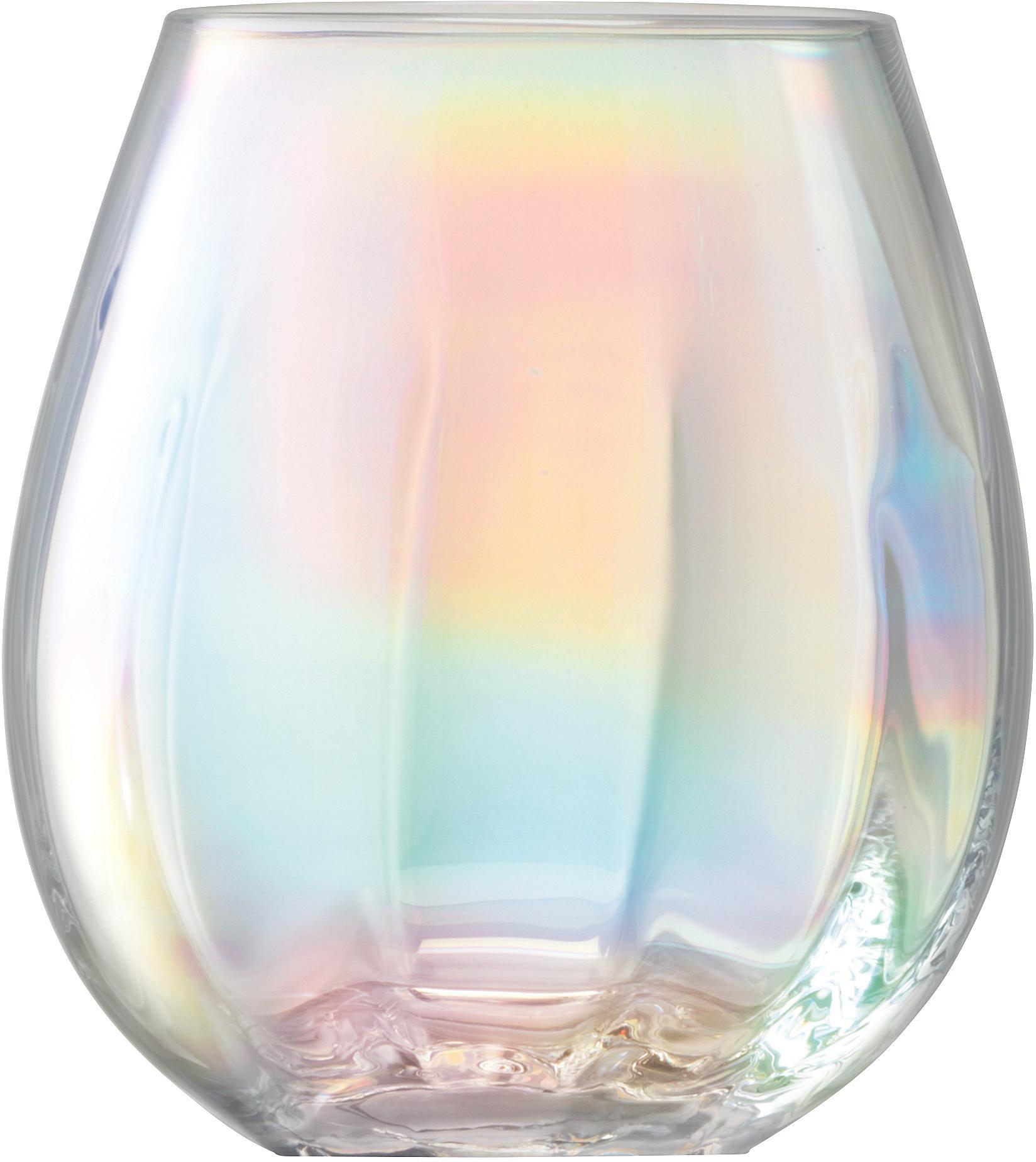 Bicchiere acqua in vetro soffiato Pearl 4 pz, Vetro, Riflessi madreperlacei, Ø 9 x Alt. 10 cm