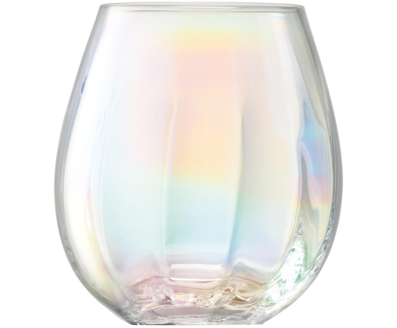 Mondgeblazen waterglazen Pearl met glinsterende paarlemoer glans, 4-delig, Glas, Parelglans, Ø 9 x H 10 cm