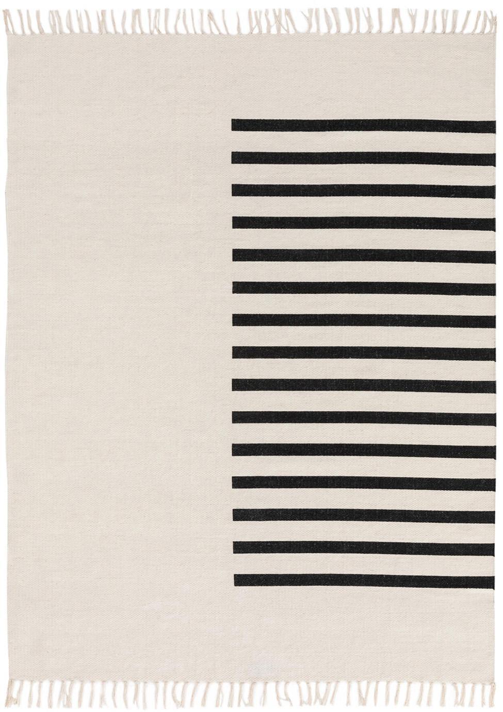 Handgewebter Kelimteppich Neo aus Wolle, 100% Wolle, Creme, Schwarz, B 120 x L 170 cm (Größe S)