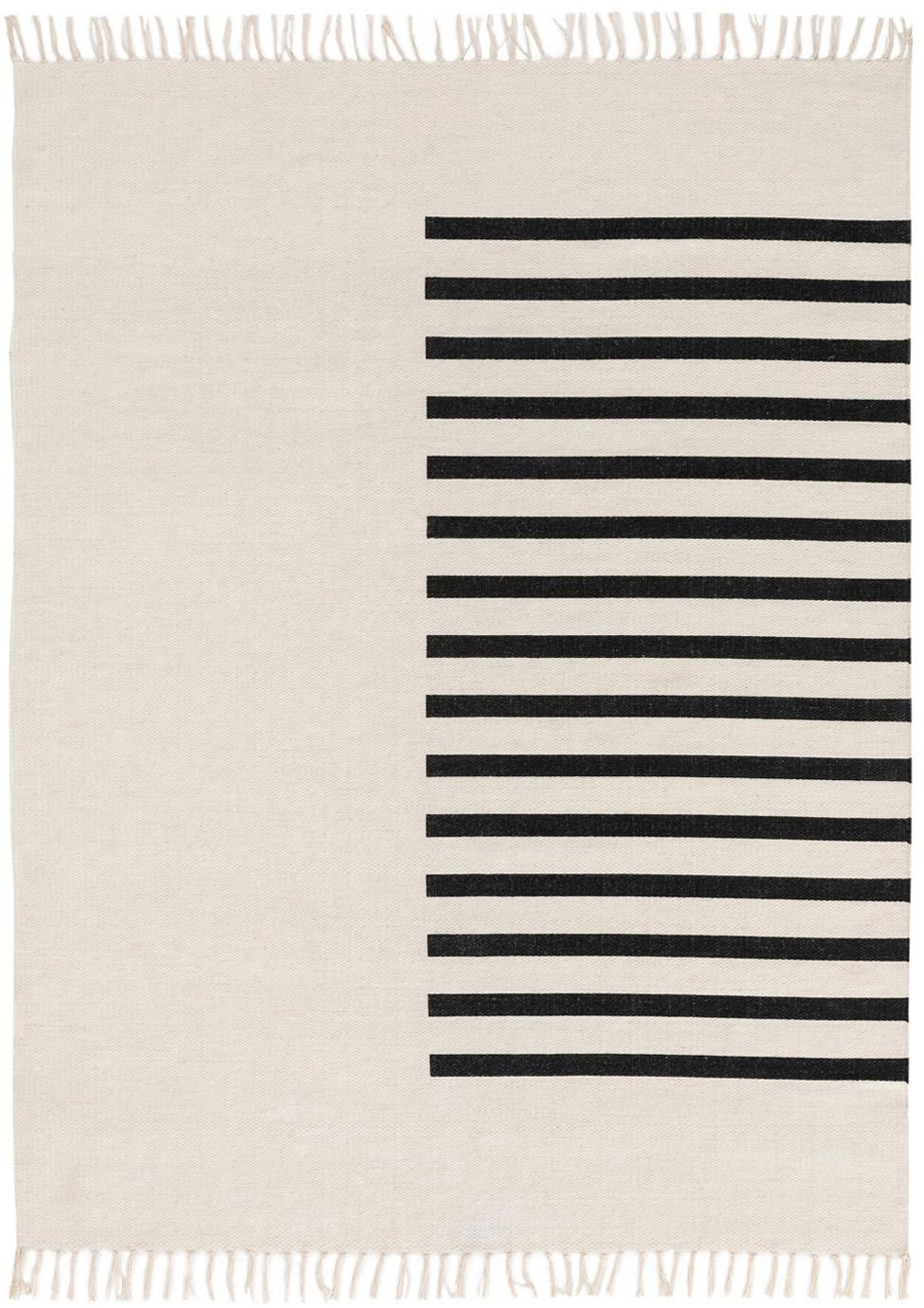 Handgeweven kelim vloerkleed Neo van wol, 100% wol, Crèmekleurig, zwart, B 120 x L 170 cm (maat S)