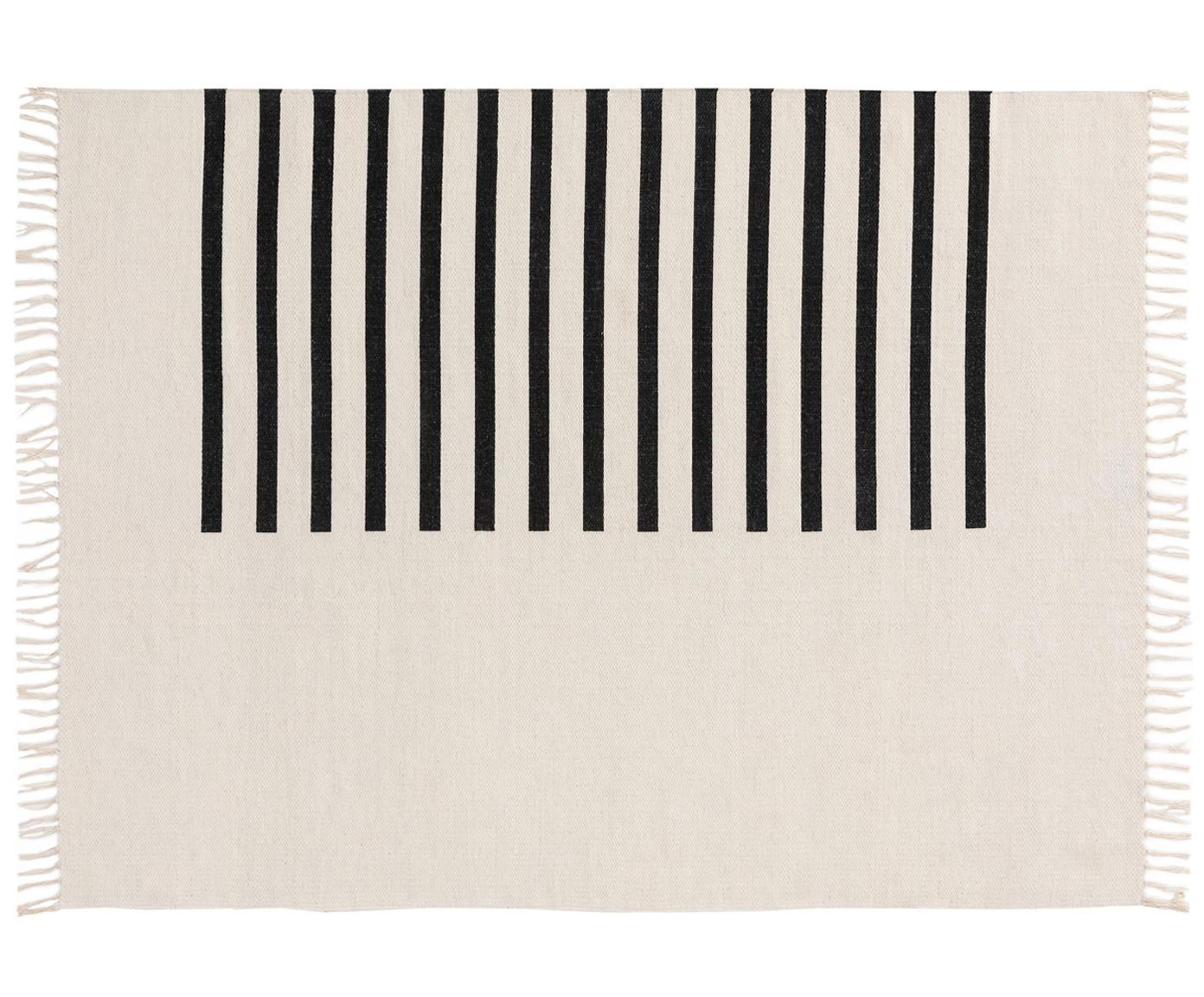 Ręcznie tkany dywan z wełny Neo, 100% wełna, Kremowy, czarny, S 120 x D 170 cm (Rozmiar S)