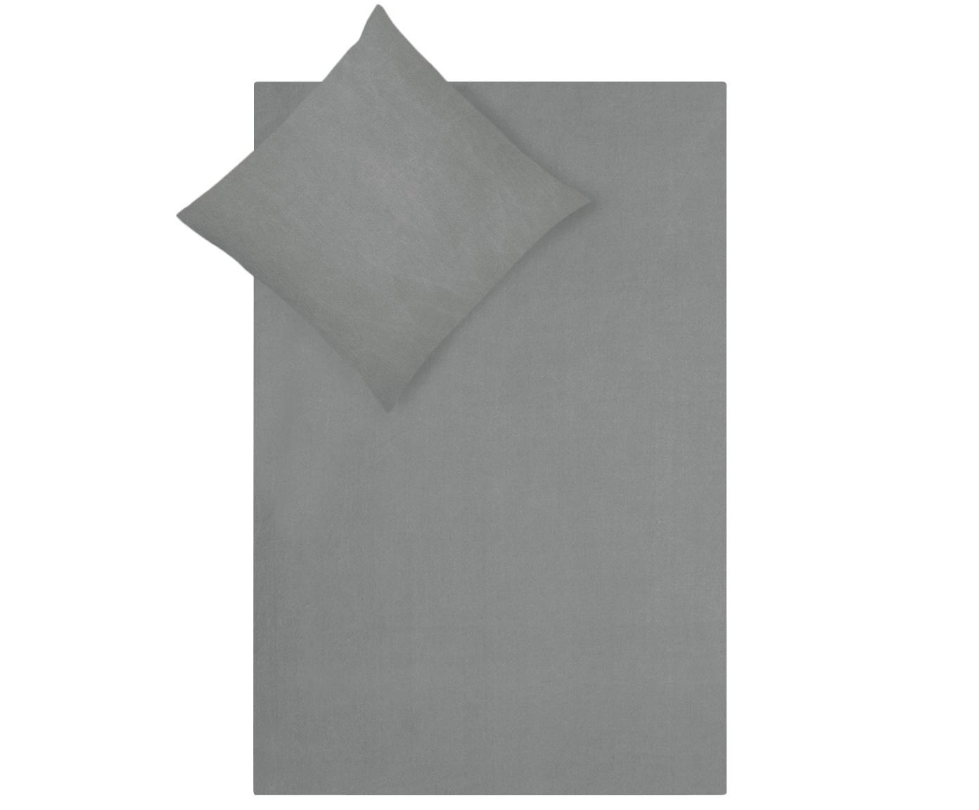 Bavlněné povlečení s efektem soft-washed Arlene, Tmavě šedá