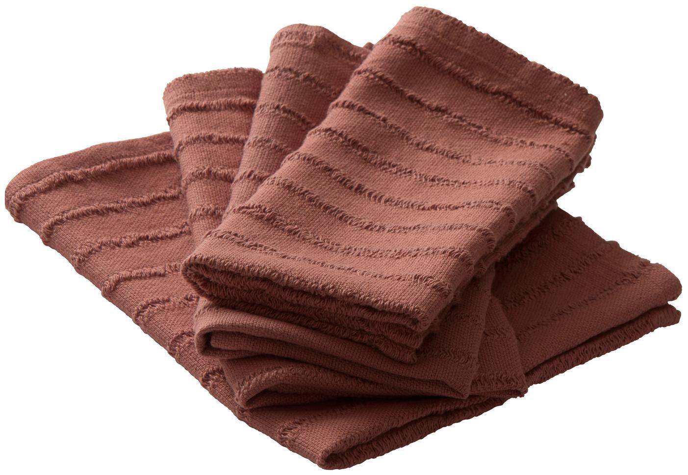Servilletas de algodón Loveli, 4uds., Algodón, Rojo terracota, An 42 x L 42 cm