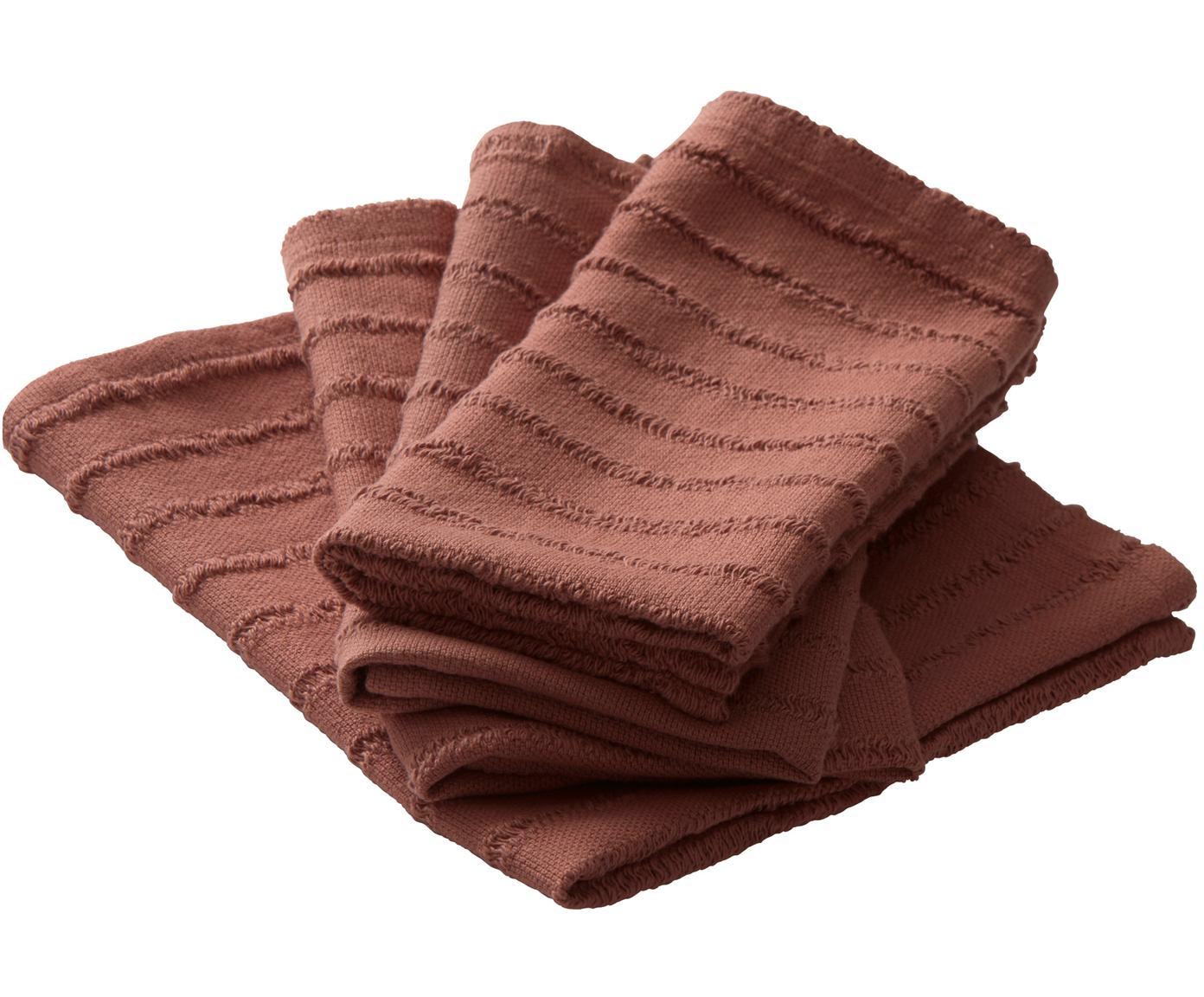 Tovagliolo in cotone Loveli 4 pz, Cotone, Rosso terracotta, Larg. 42 x Lung. 42 cm