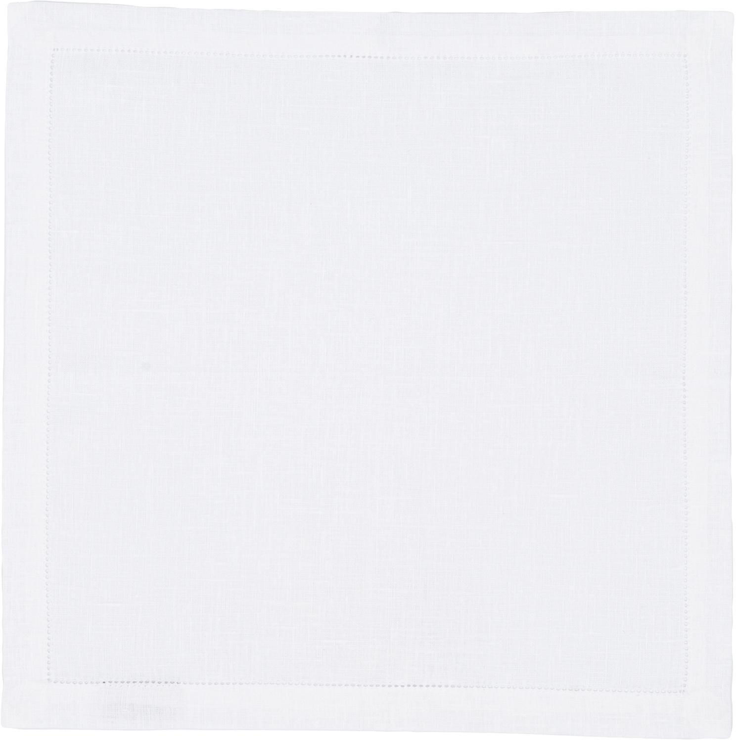 Tovagliolo in lino con bordo ricamato Alanta 6 pz, Candido, Larg. 42 x Lung. 42 cm