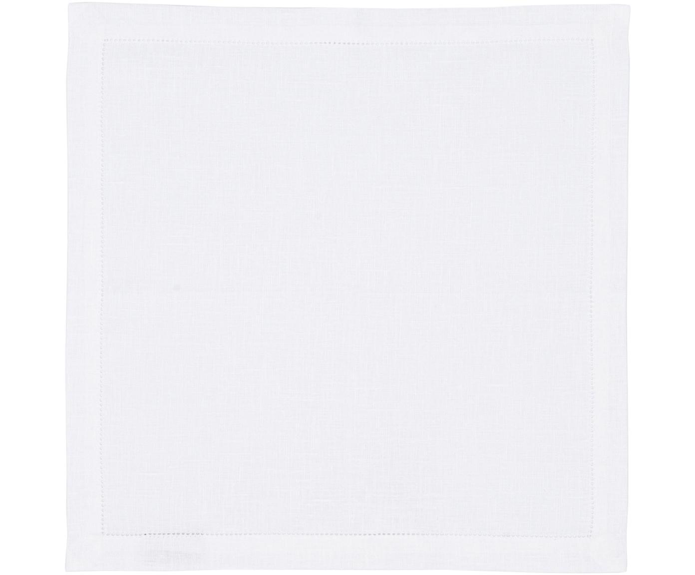 Linnen servetten Alanta met open zoom, 6 stuks, Sneeuwwit, 42 x 42 cm