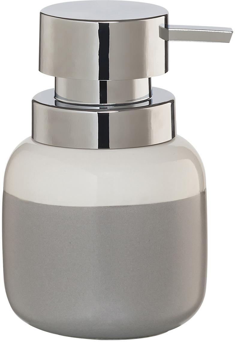 Dosatore di sapone Sphere, Recipiente: porcellana, Testa della pompa: materiale sintetico, Recipiente: grigio chiaro, bianco Testa della pompa: argento, Ø 10 x Alt. 14 cm
