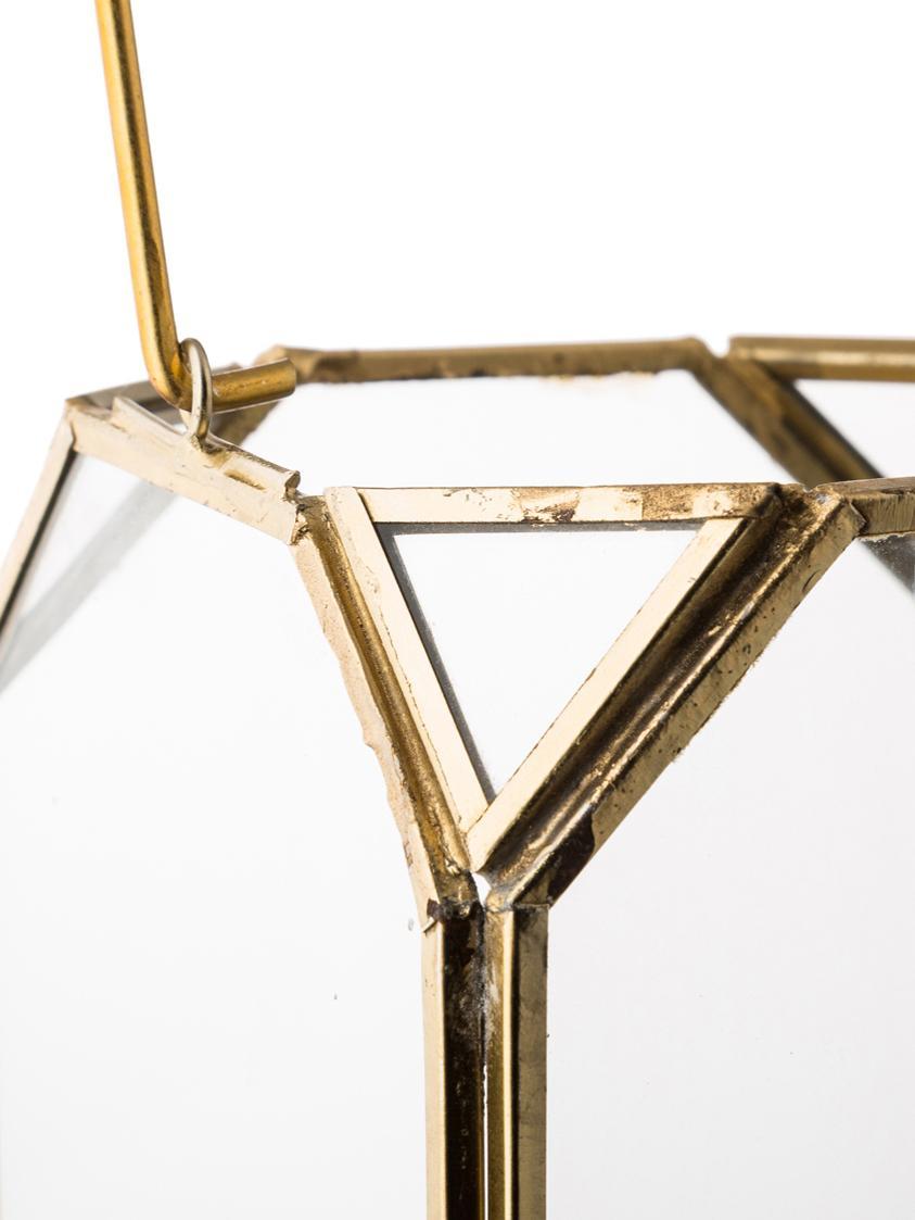 Laterne Ginny, Gestell: Metall, beschichtet, Messingfarben, 11 x 15 cm