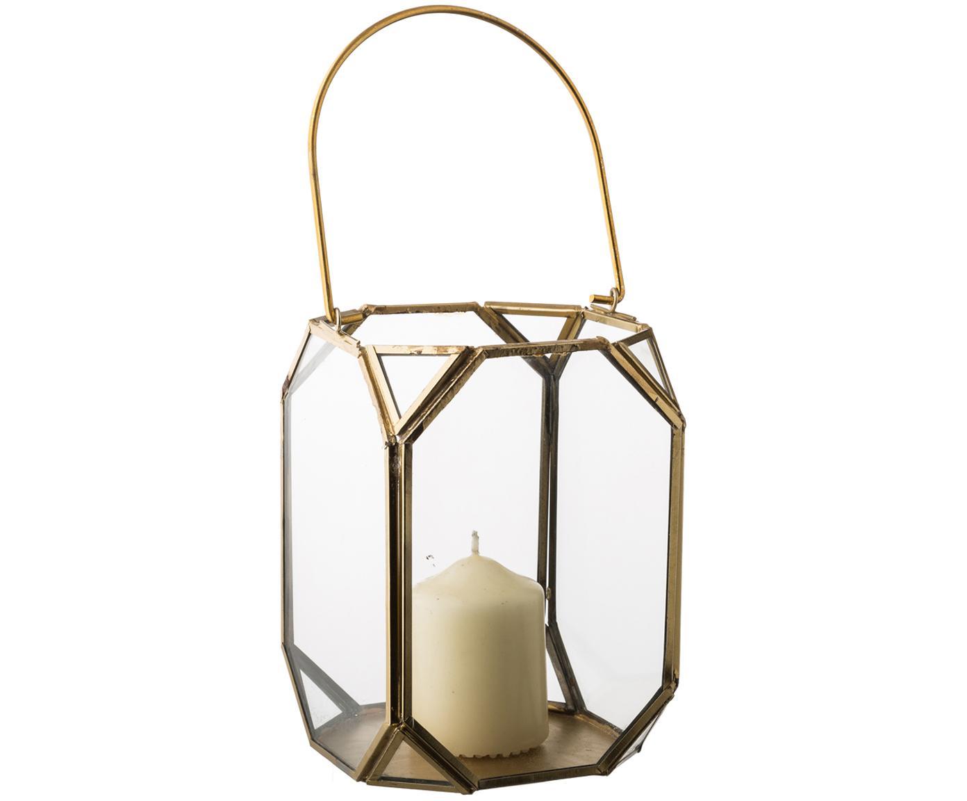 Lanterna portacandela in vetro e ottone Ginny, Struttura: metallo rivestito, Ottonato, Larg. 11 x Alt. 15 cm