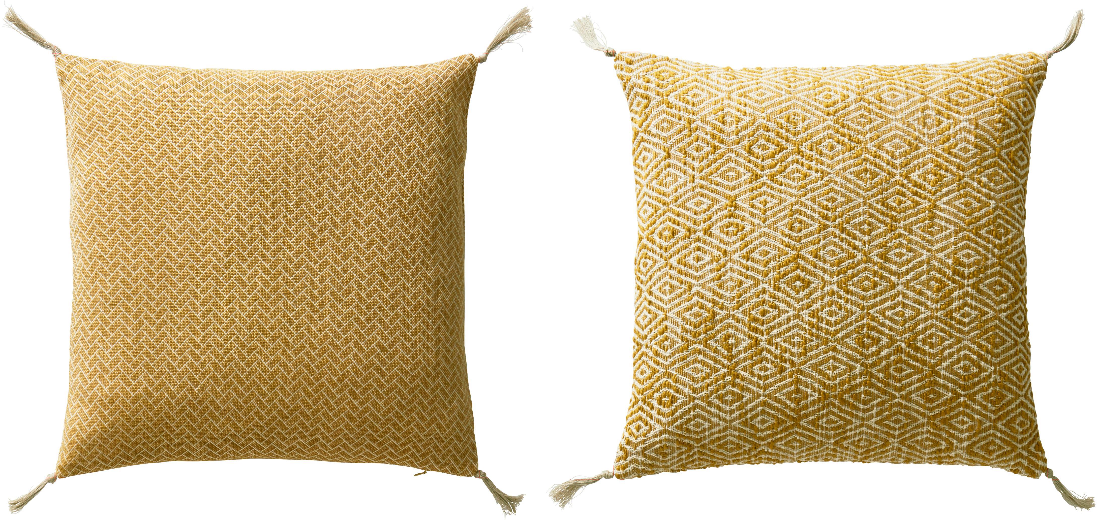 Gemustertes Kissenhüllen Fancy mit Quasten, 2er-Set, 100% Baumwolle, Gelb, gebrochenes Weiß, 45 x 45 cm