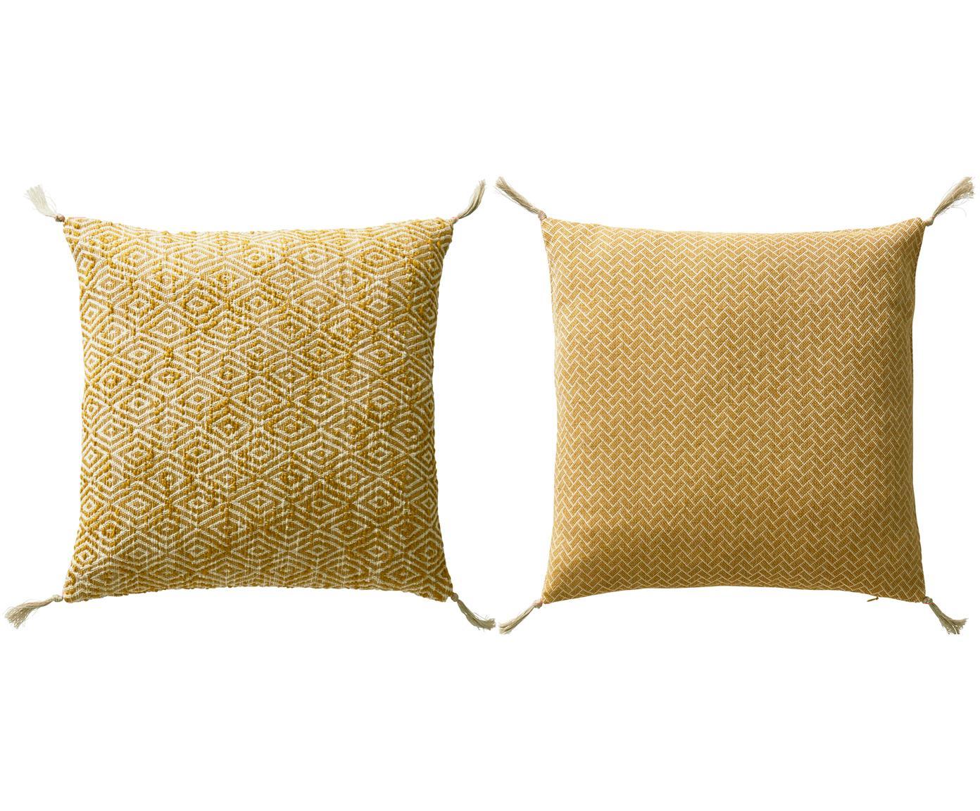 Gemustertes Kissenhüllen 2er Set Fancy mit Quasten, 100% Baumwolle, Gelb, gebrochenes Weiß, 45 x 45 cm