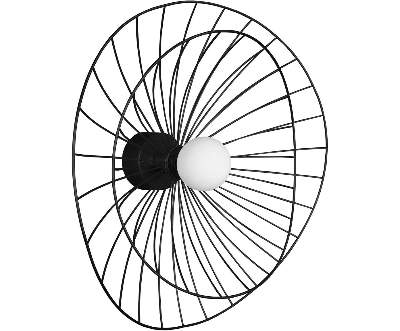 Design Wandleuchte Ray mit Stecker, Metall, Schwarz, Ø 60 x H 20 cm
