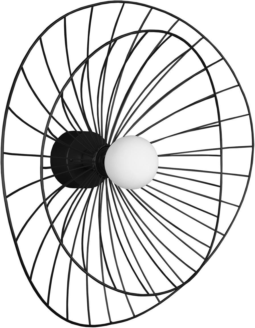 Kinkiet z wtyczką Ray, Metal, Czarny, Ø 60 x W 20 cm