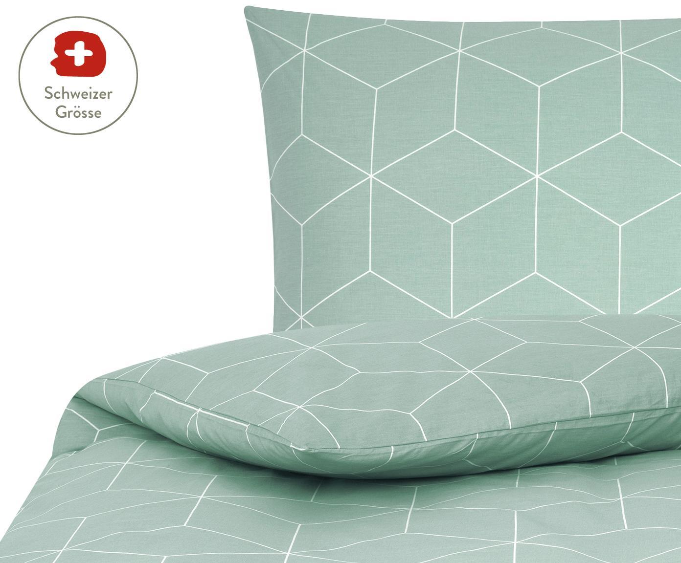 Baumwoll-Bettdeckenbezug Lynn mit grafischem Muster, Webart: Renforcé Fadendichte 144 , Mint, Cremeweiss, 160 x 210 cm