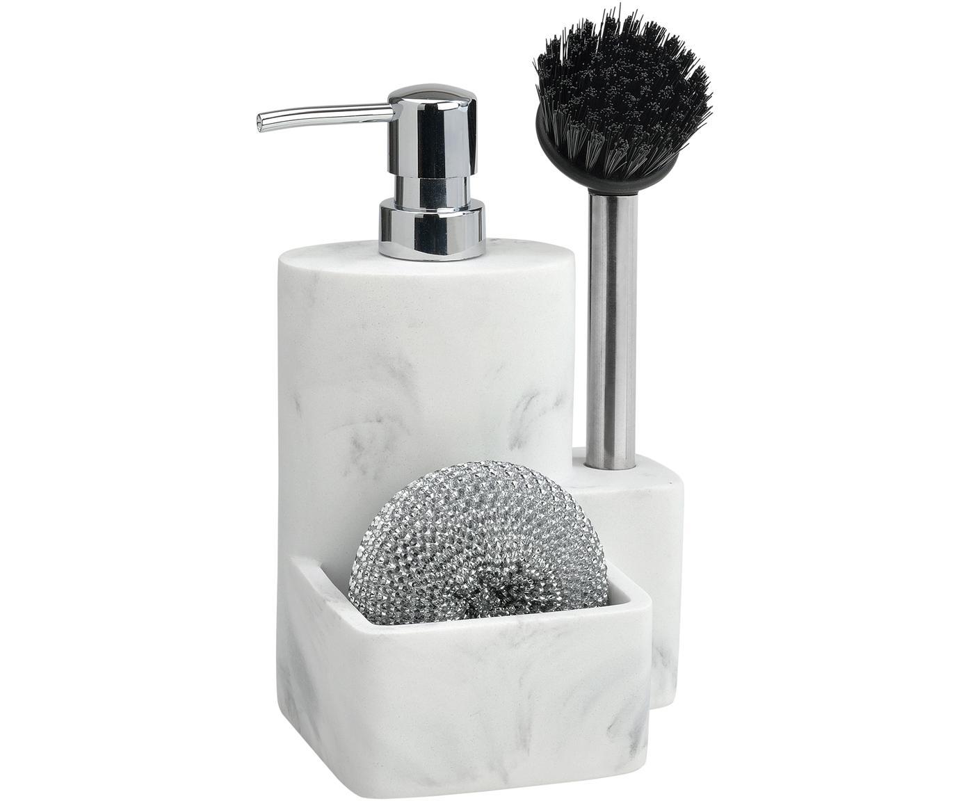 Dozownik do mydła  Galia, 3 elem., Biały, marmurowy, odcienie srebrnego, czarny, S 24 x W 12 cm