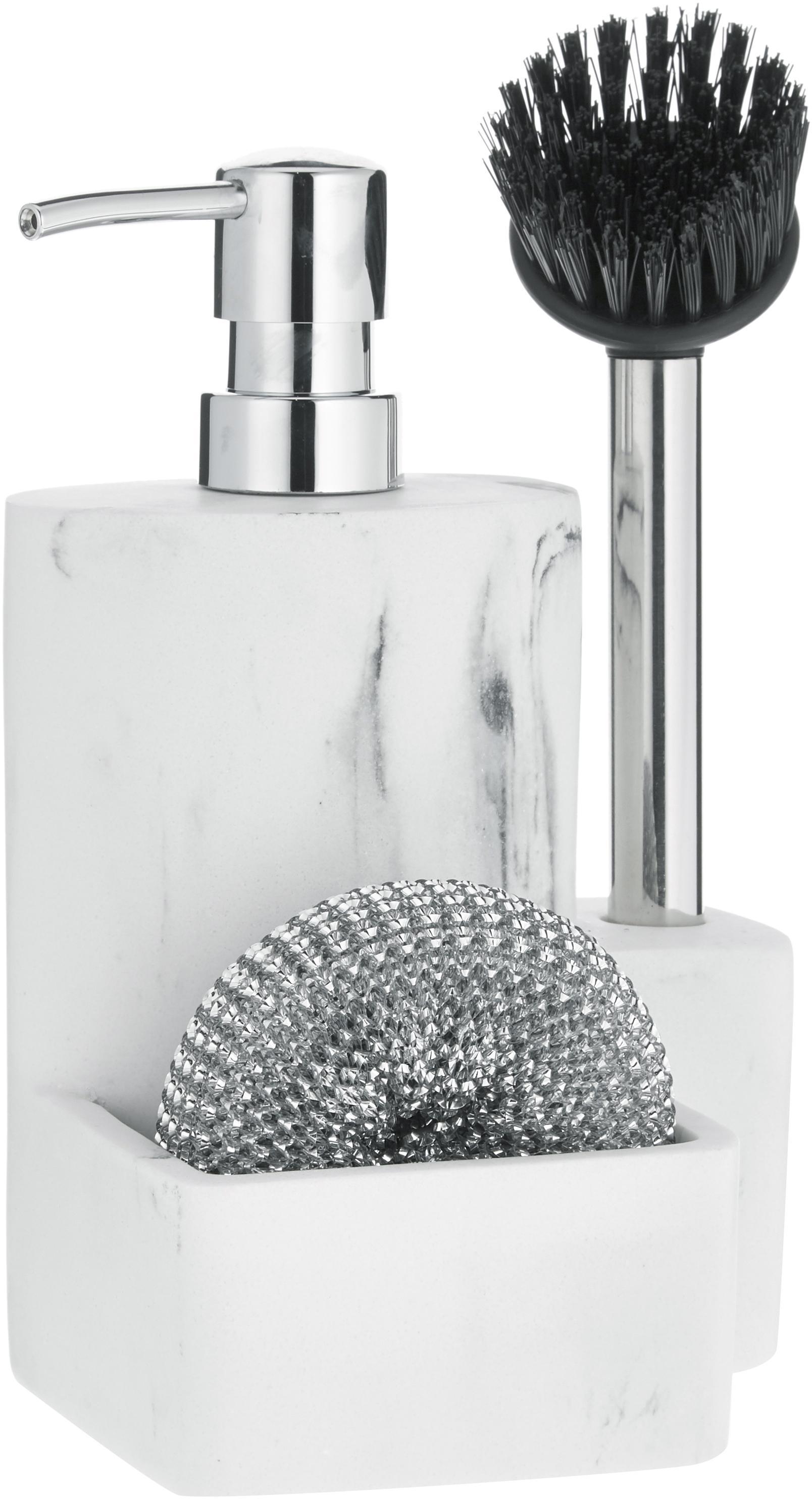 Zeepdispenserset Galia met marmerlook, 3-delig, Polyresin, metaal, Wit, gemarmerd, zilverkleurig, zwart, 24 x 12 cm