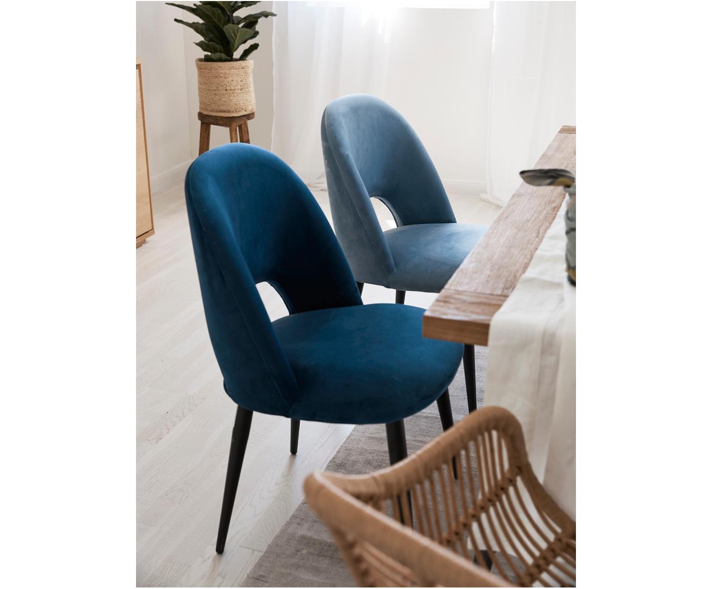Krzesło tapicerowane z aksamitu Rachel, Tapicerka: aksamit (wysokiej jakości, Nogi: metal malowany proszkowo, Aksamitny jasny niebieski, S 53 x G 57 cm