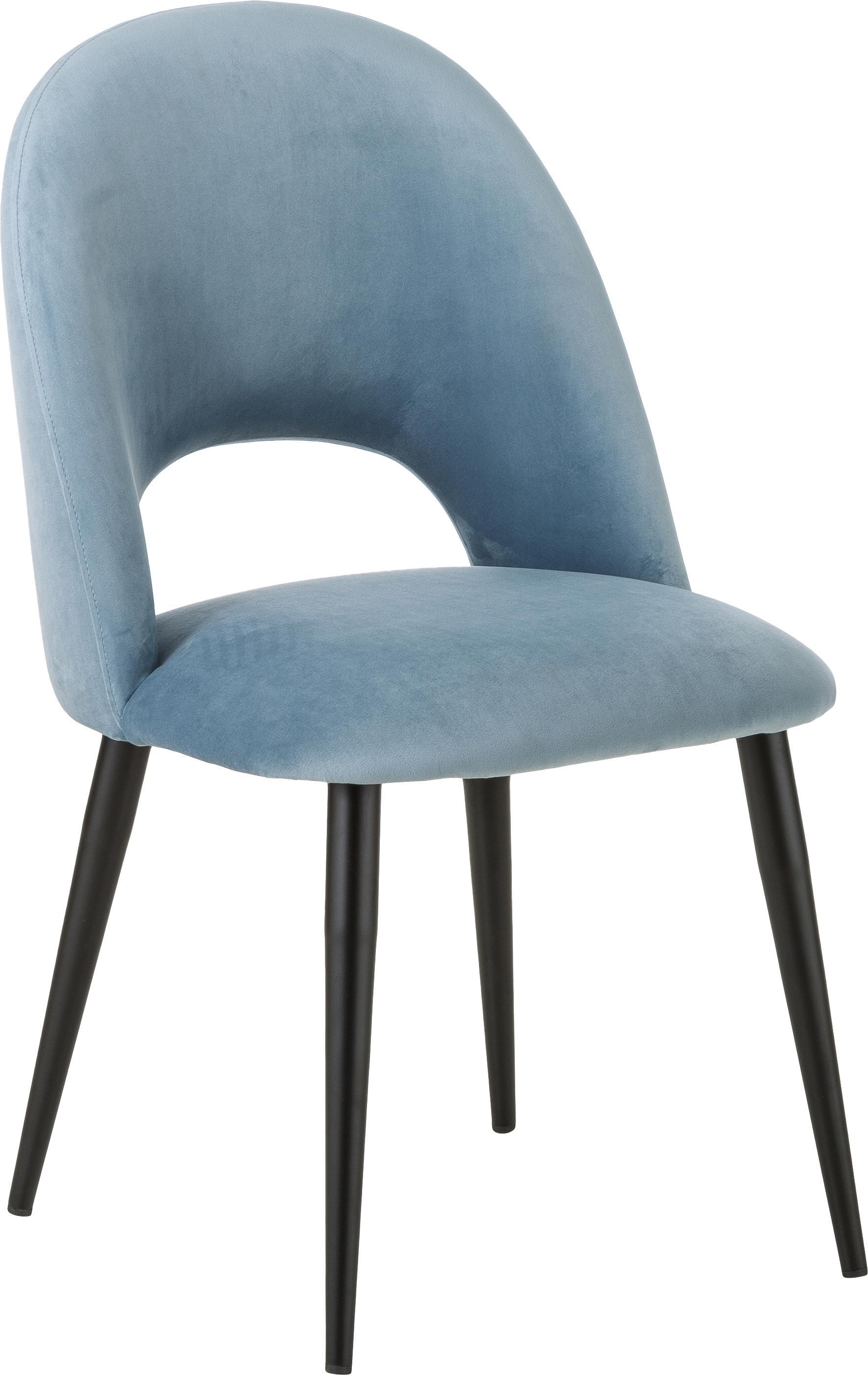 Samt-Polsterstuhl Rachel, Bezug: Samt (Hochwertiger Polyes, Beine: Metall, pulverbeschichtet, Samt Hellblau, B 53 x T 57 cm