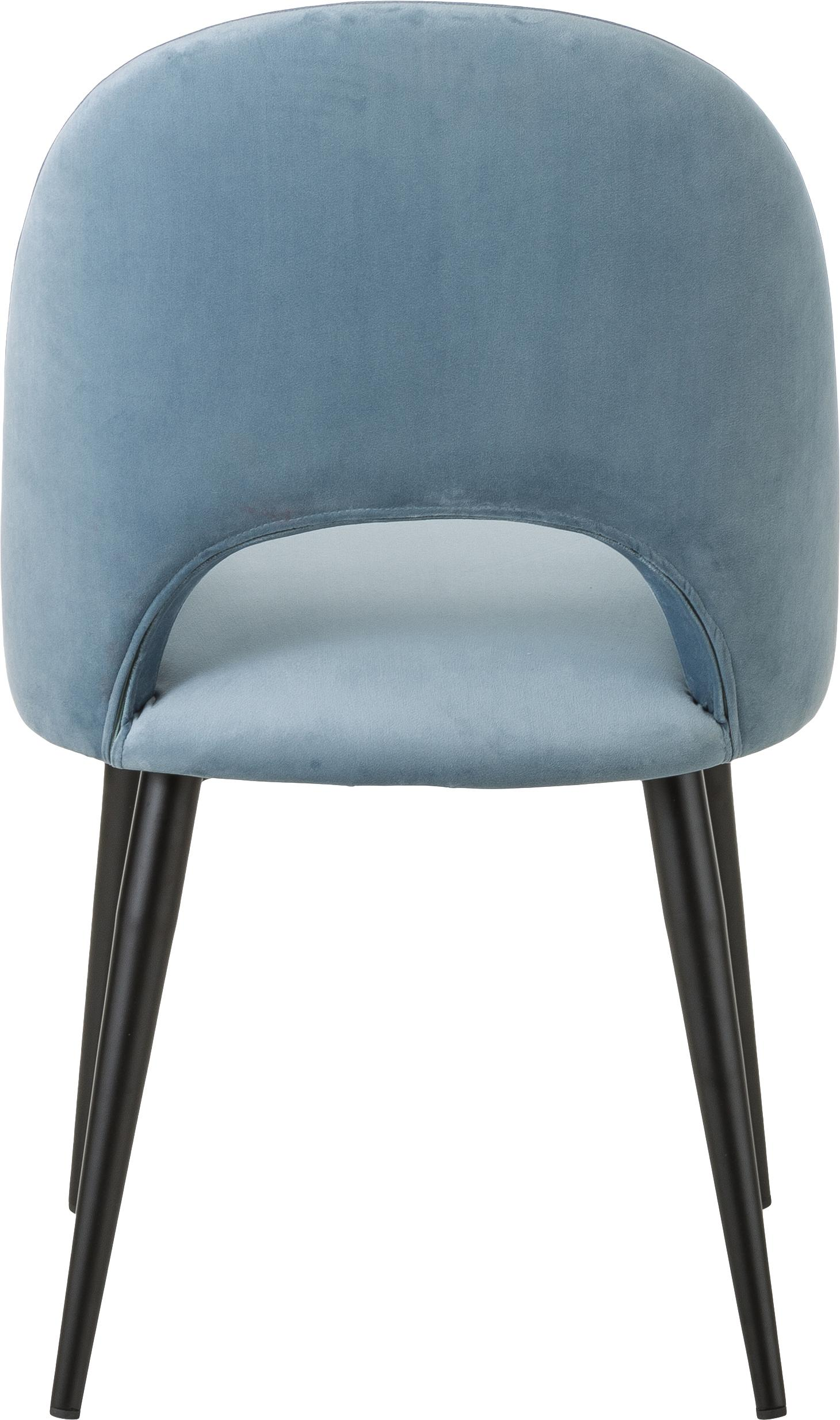 Silla de terciopelo Rachel, Tapizado: terciopelo (tapizado de p, Patas: metal con pintura en polv, Azul claro, An 53 x F 57 cm